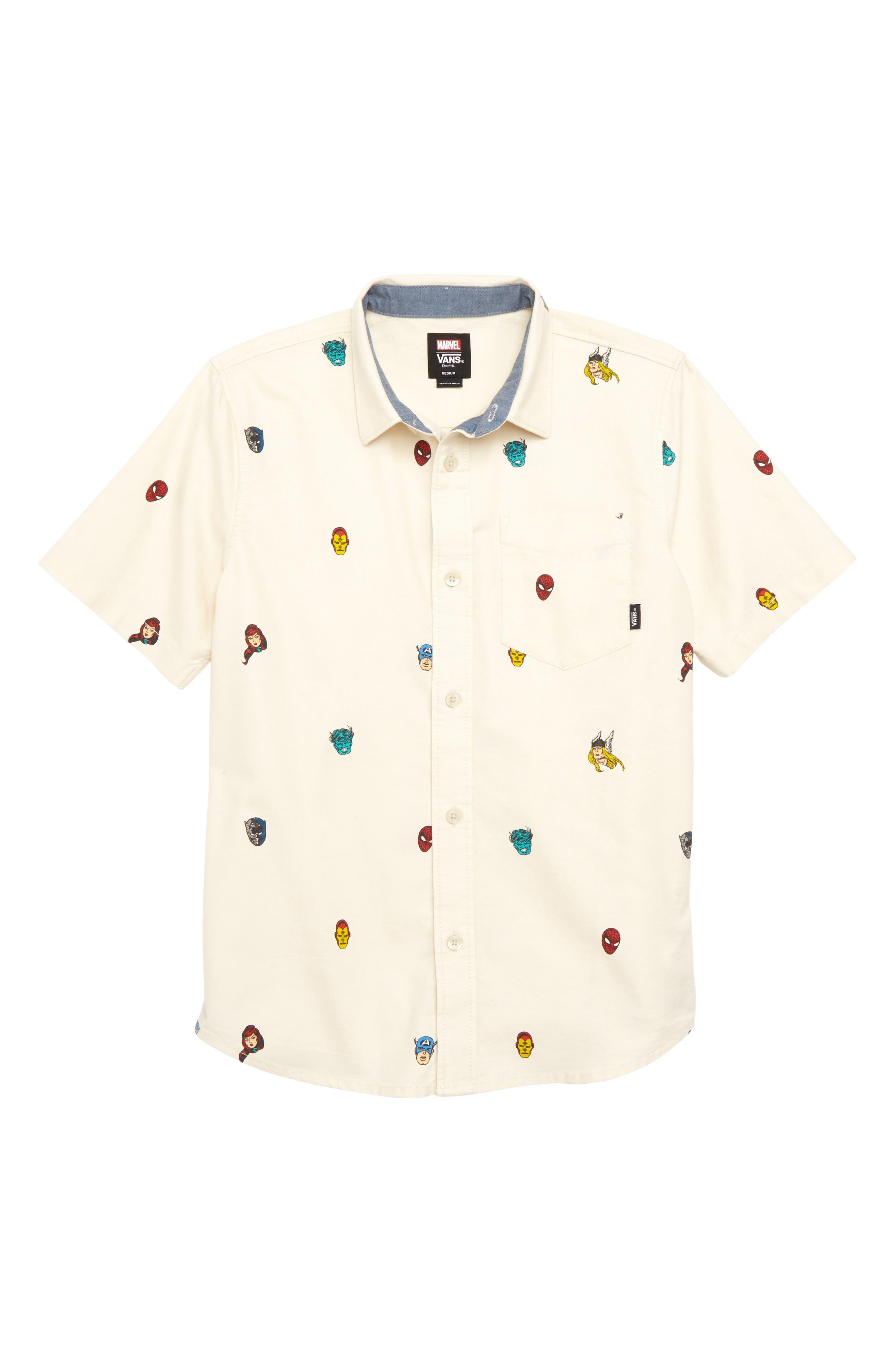 x Marvel<sup>®</sup> Avengers Woven Shirt,                         Main,                         color, Beige