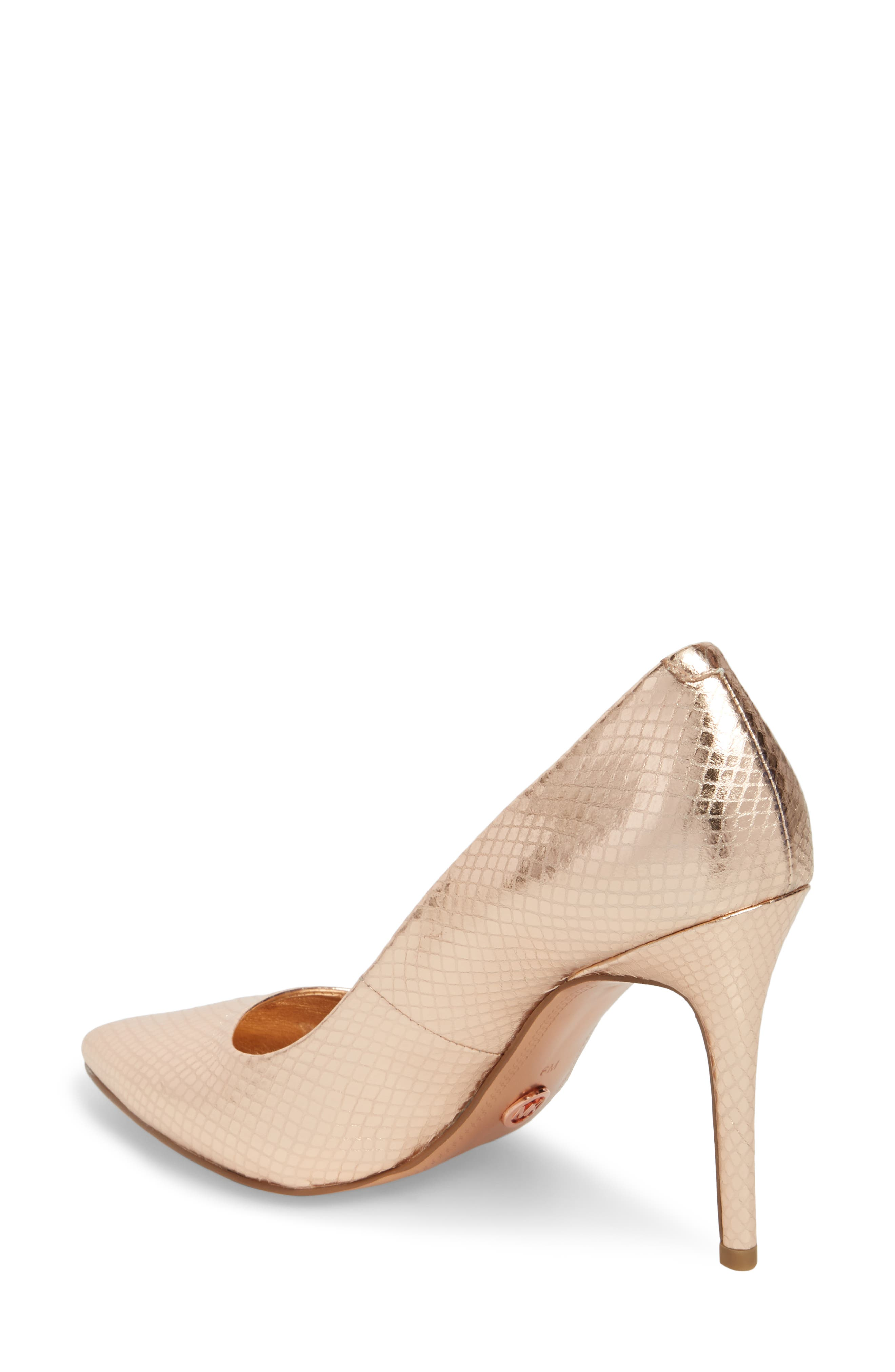 Claire Pointy Toe Pump,                             Alternate thumbnail 2, color,                             Soft Pink Snake Print Fabric