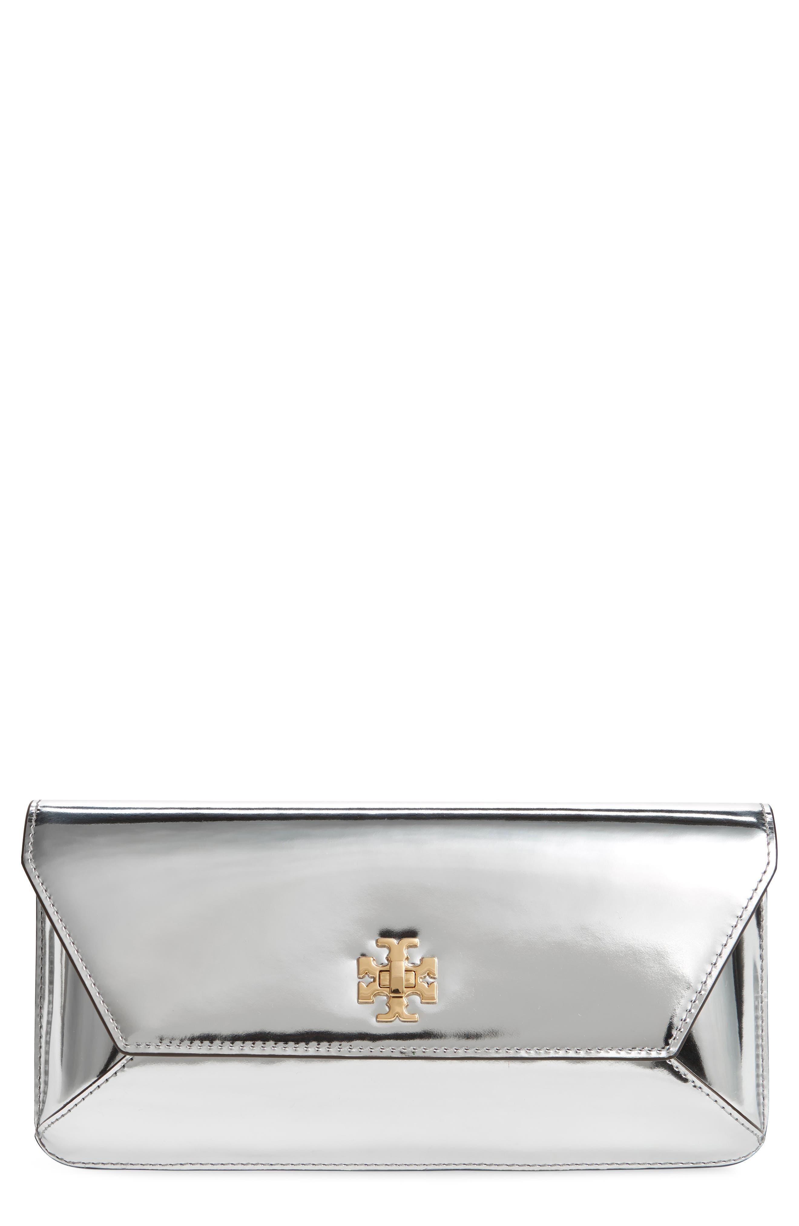 Kira Leather Envelope Clutch,                             Main thumbnail 1, color,                             Mirror Metallic Silver