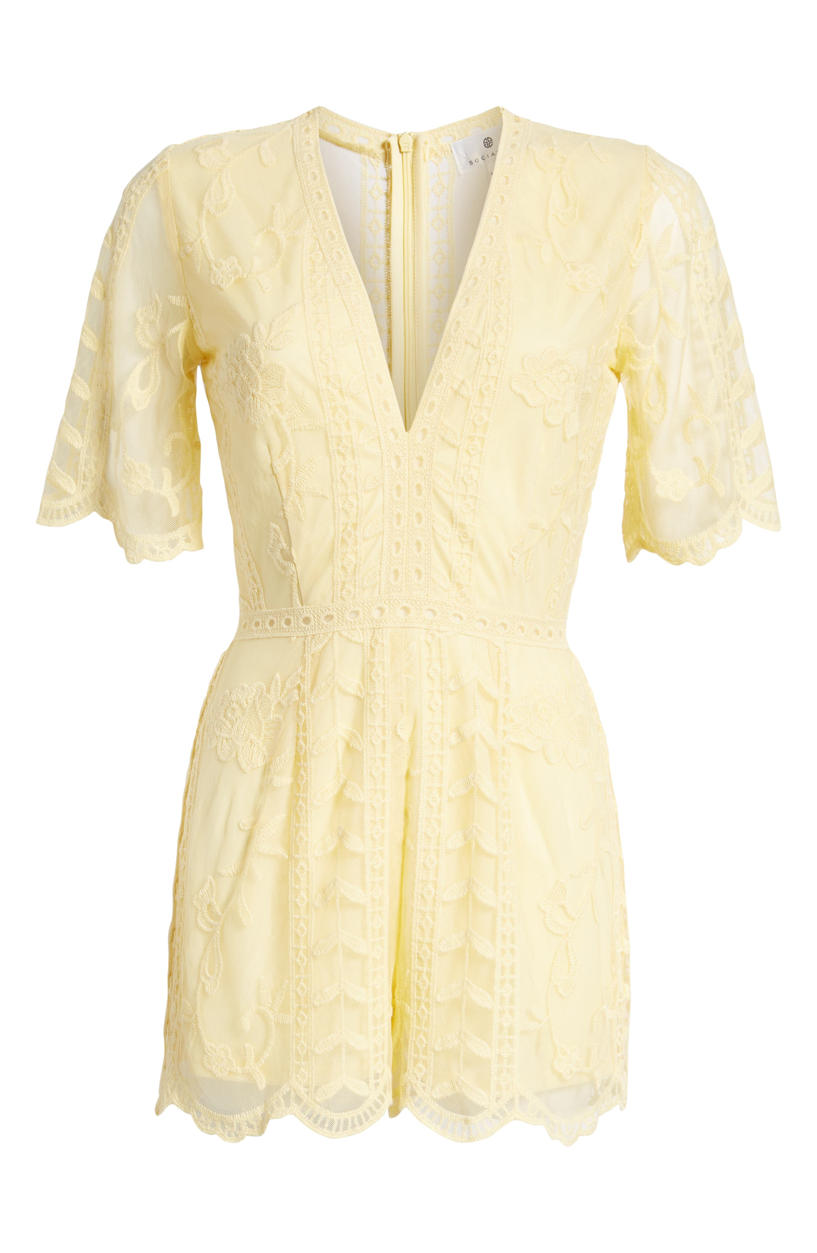 Plunging Lace Romper,                             Alternate thumbnail 7, color,                             Yellow Pastel