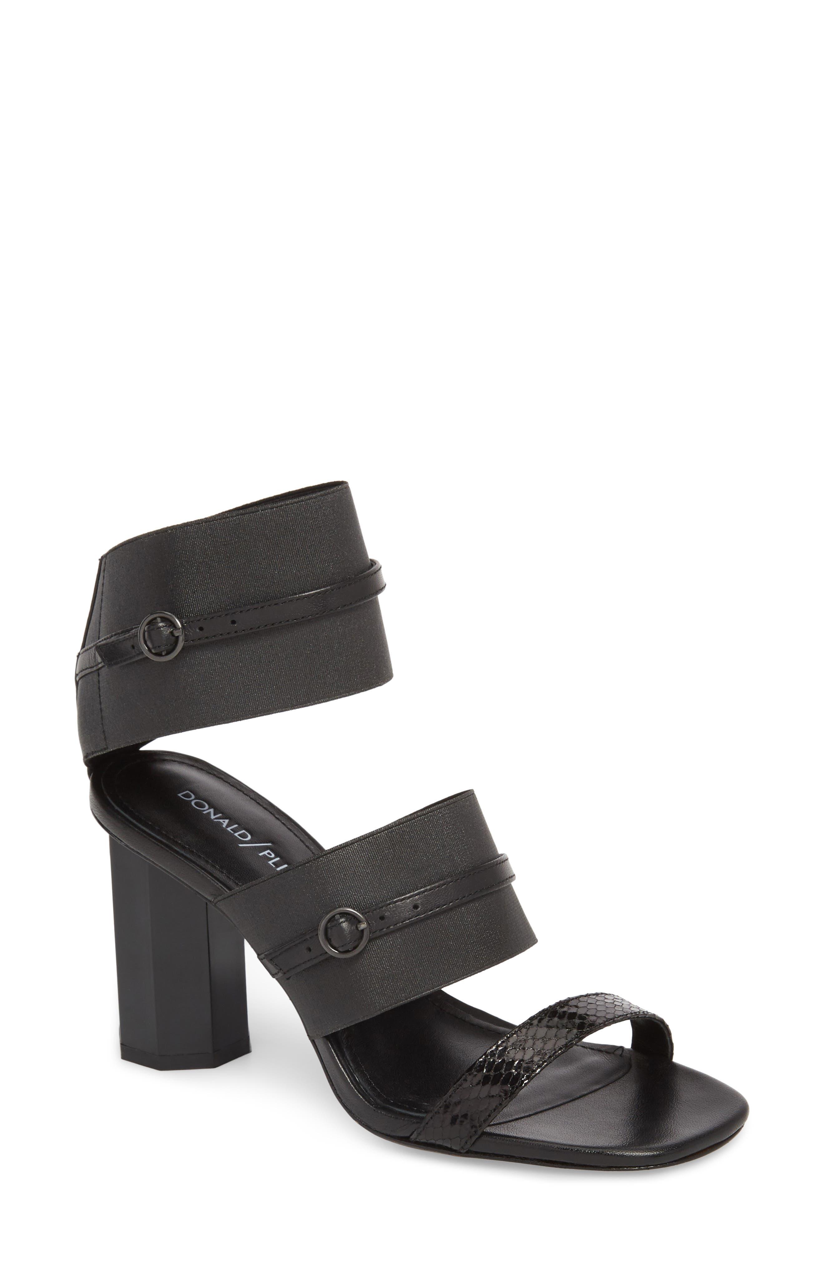 Edie Sandal,                             Main thumbnail 1, color,                             Black Leather