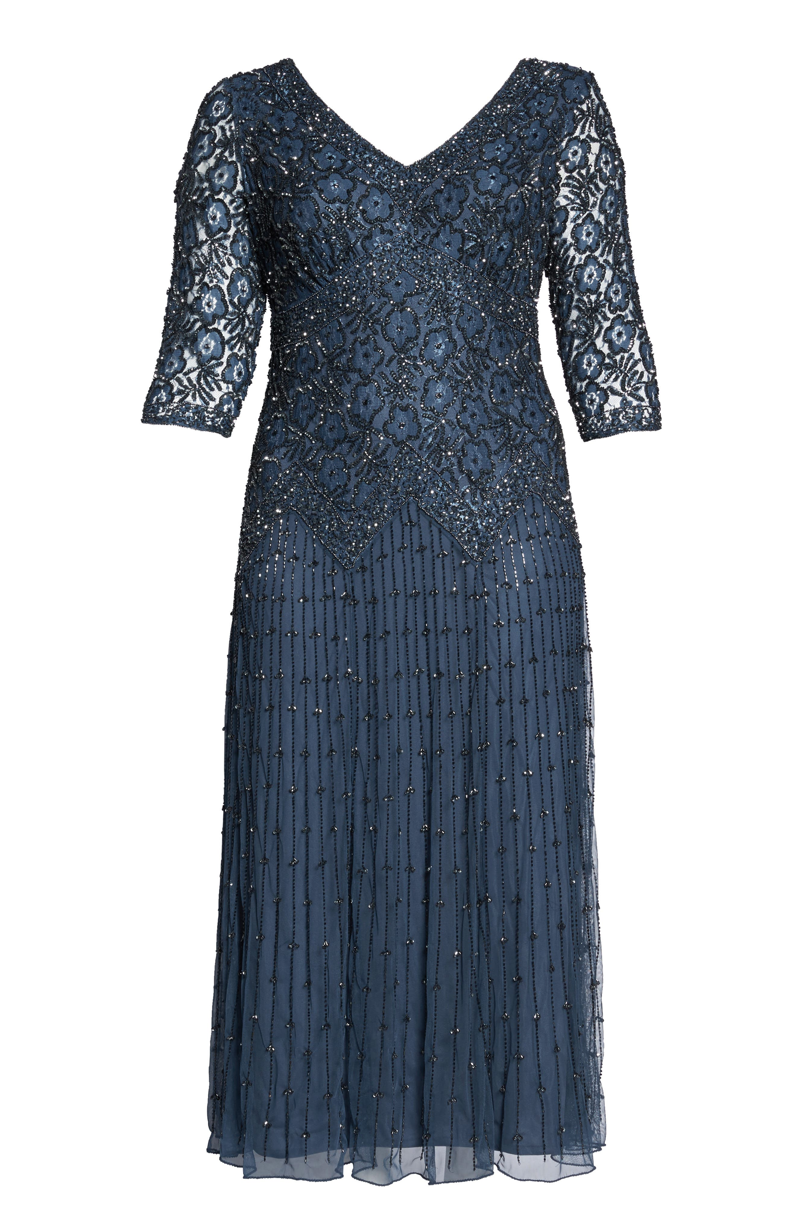 Beaded V-Neck Lace Illusion Gown,                             Alternate thumbnail 6, color,                             Navy