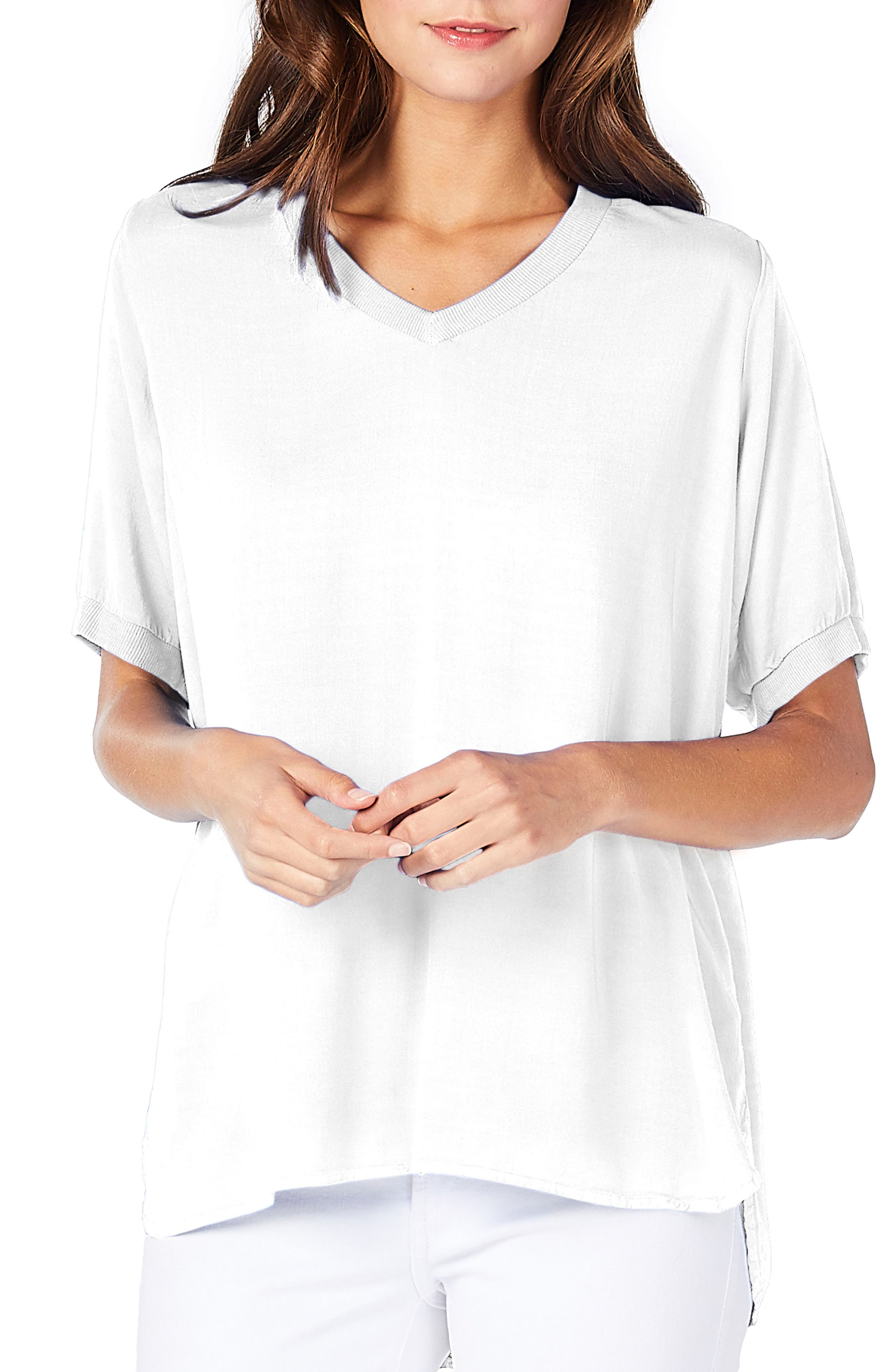 Scoop Neck Tee,                         Main,                         color, White