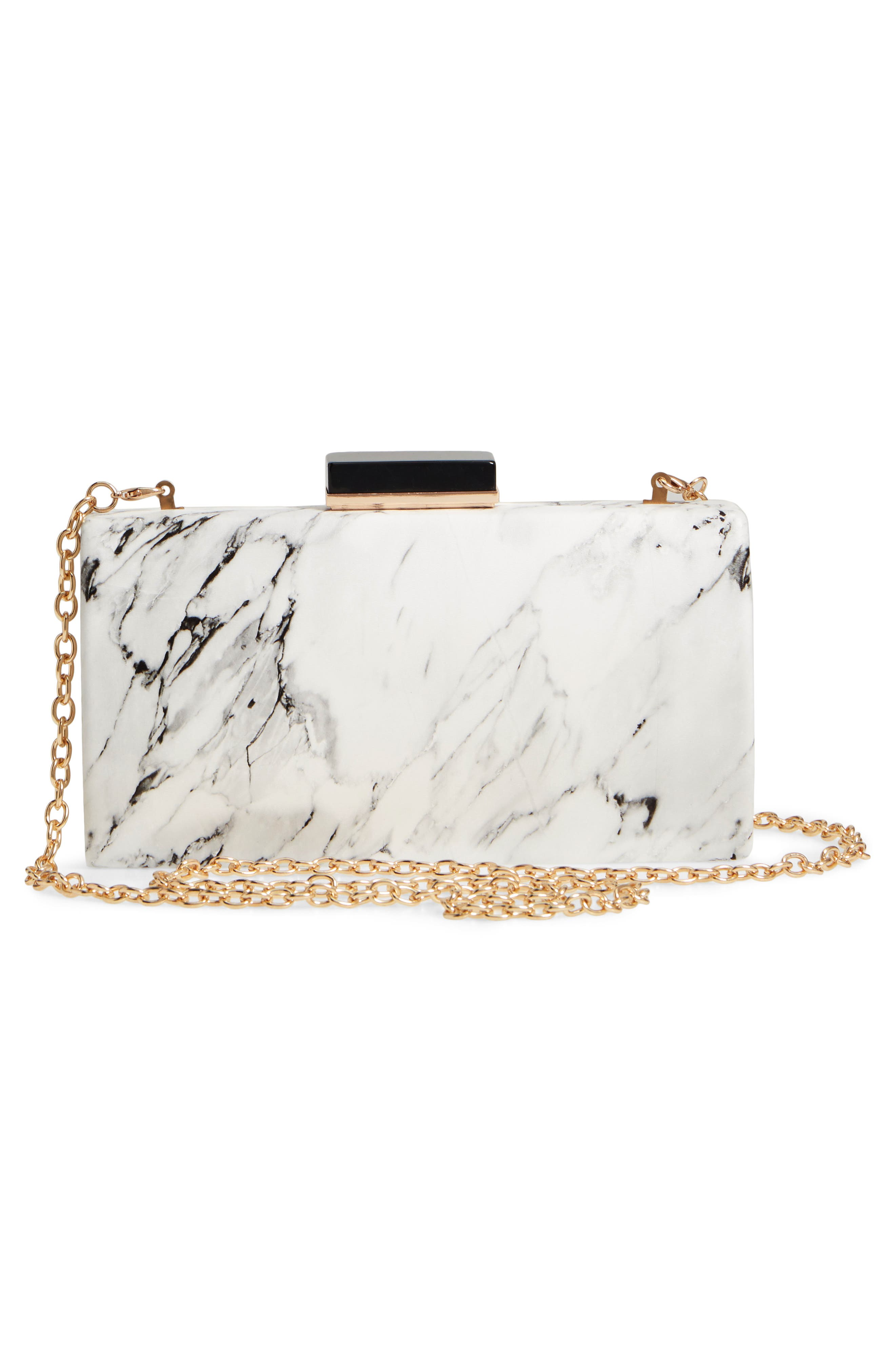 Marble Print Faux Leather Box Clutch,                             Alternate thumbnail 3, color,                             White