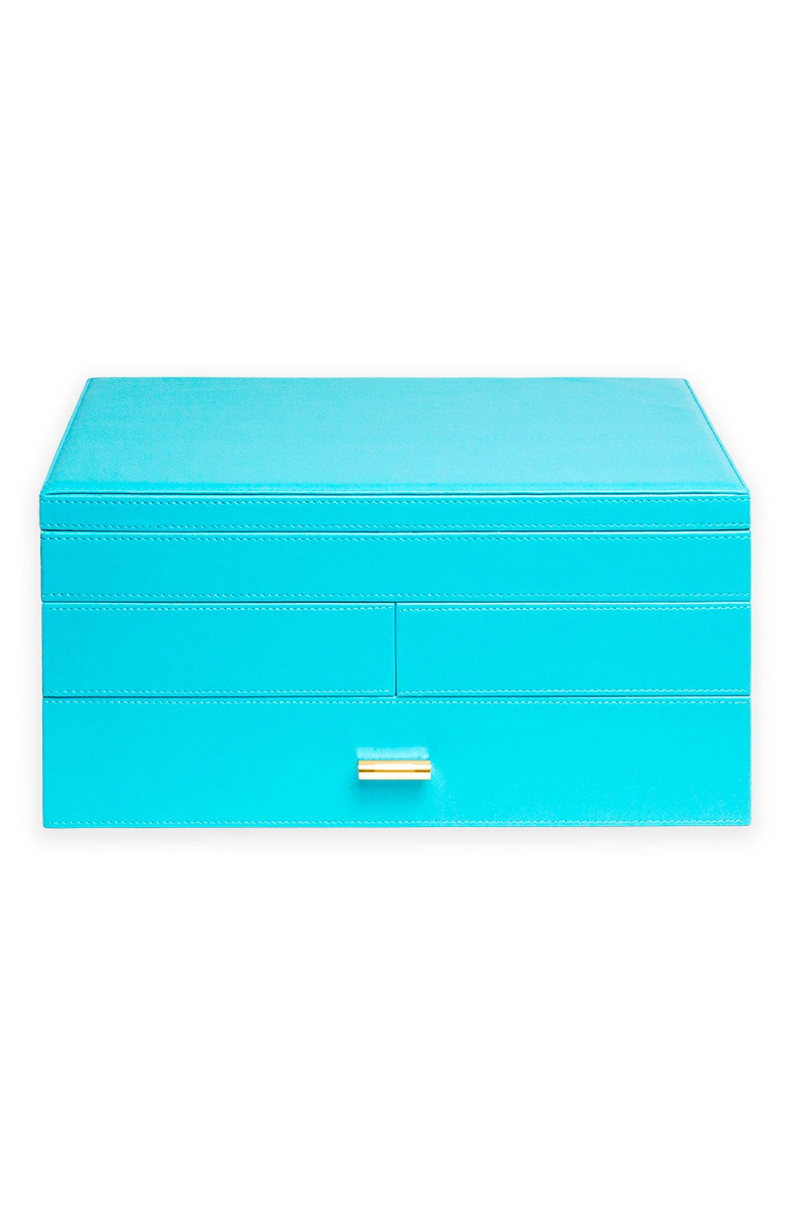 Large Jewelry Box,                         Main,                         color, Turquoise/ Citron