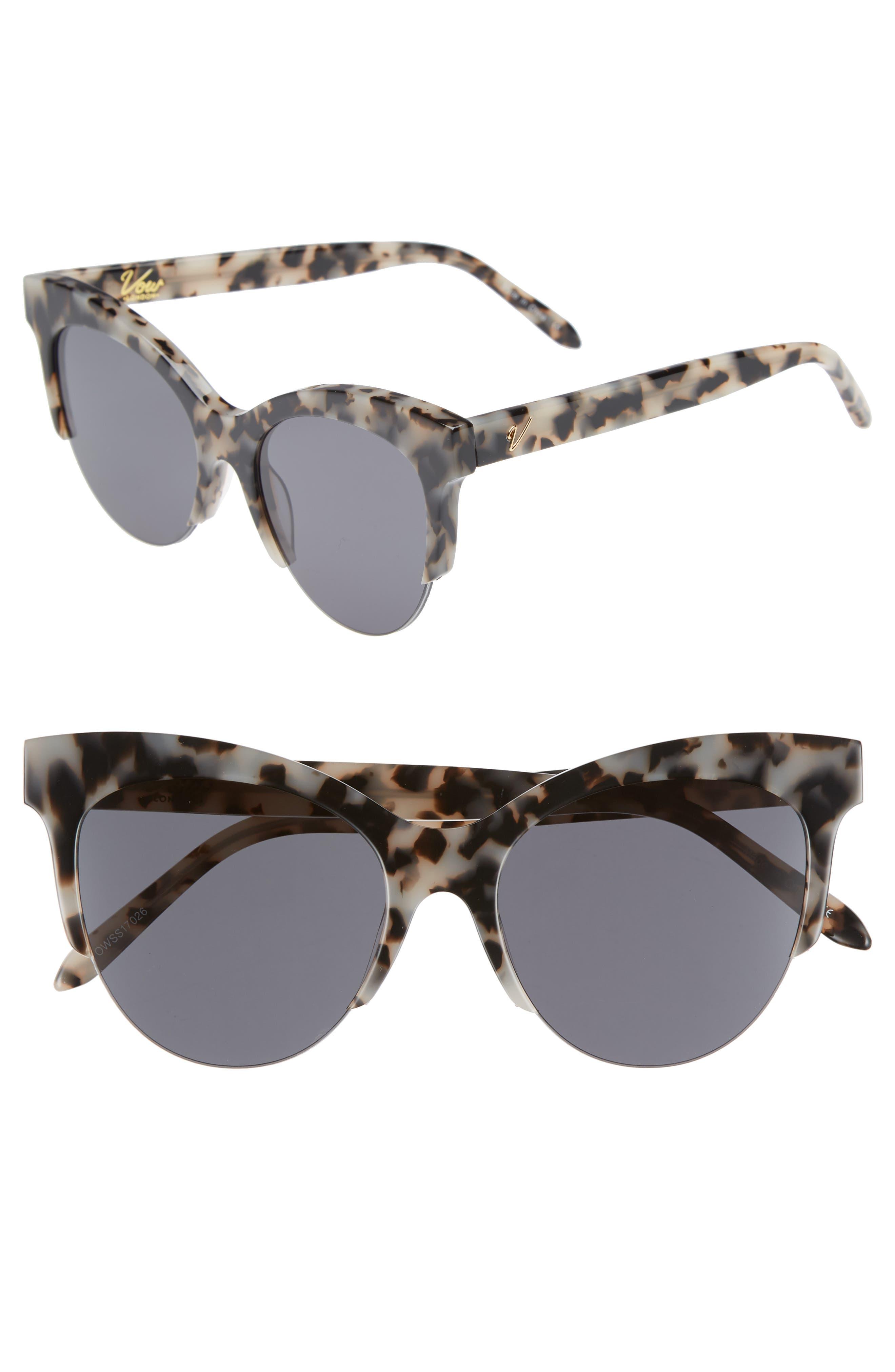 Cody 53mm Cat Eye Sunglasses,                         Main,                         color, Milky Tortoise/ Smoke