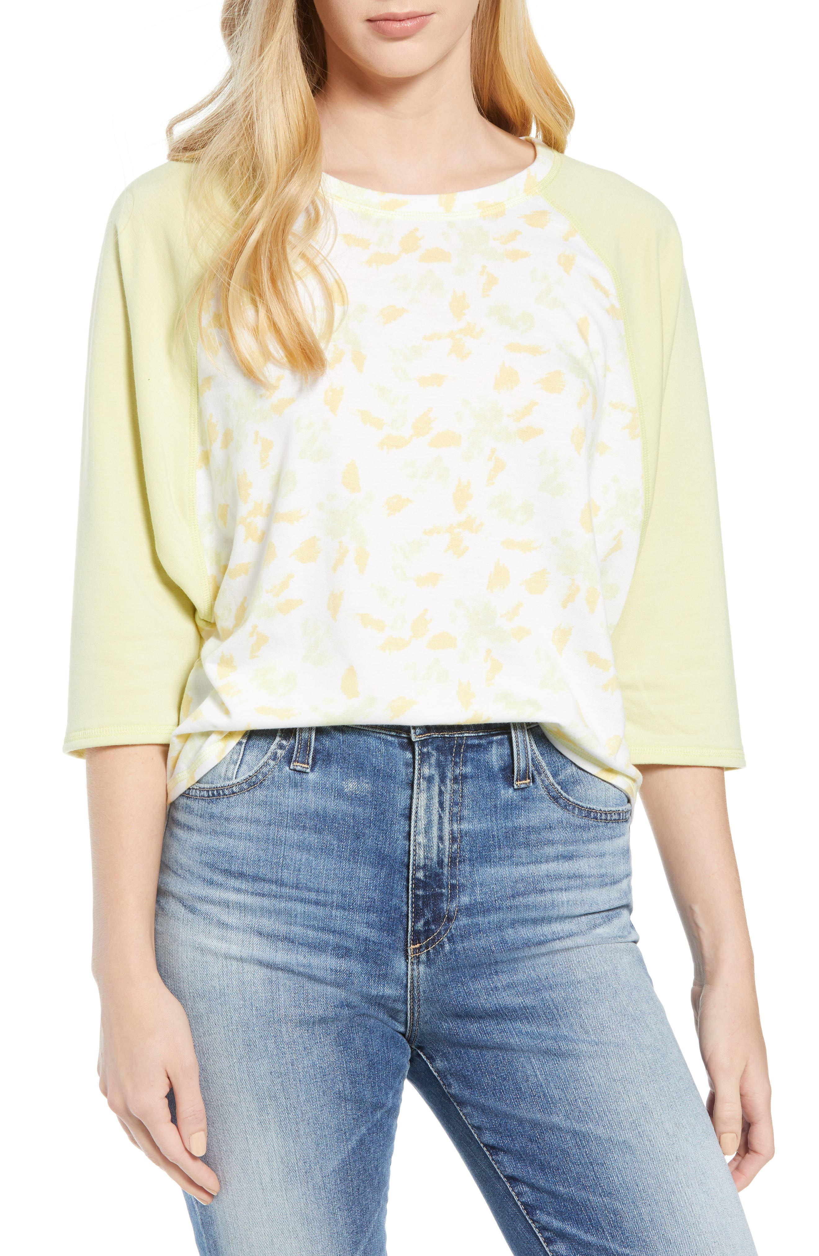 Off Duty Raglan Sleeve Sweatshirt,                             Main thumbnail 1, color,                             Ivory- Yellow Fleurs De Laine