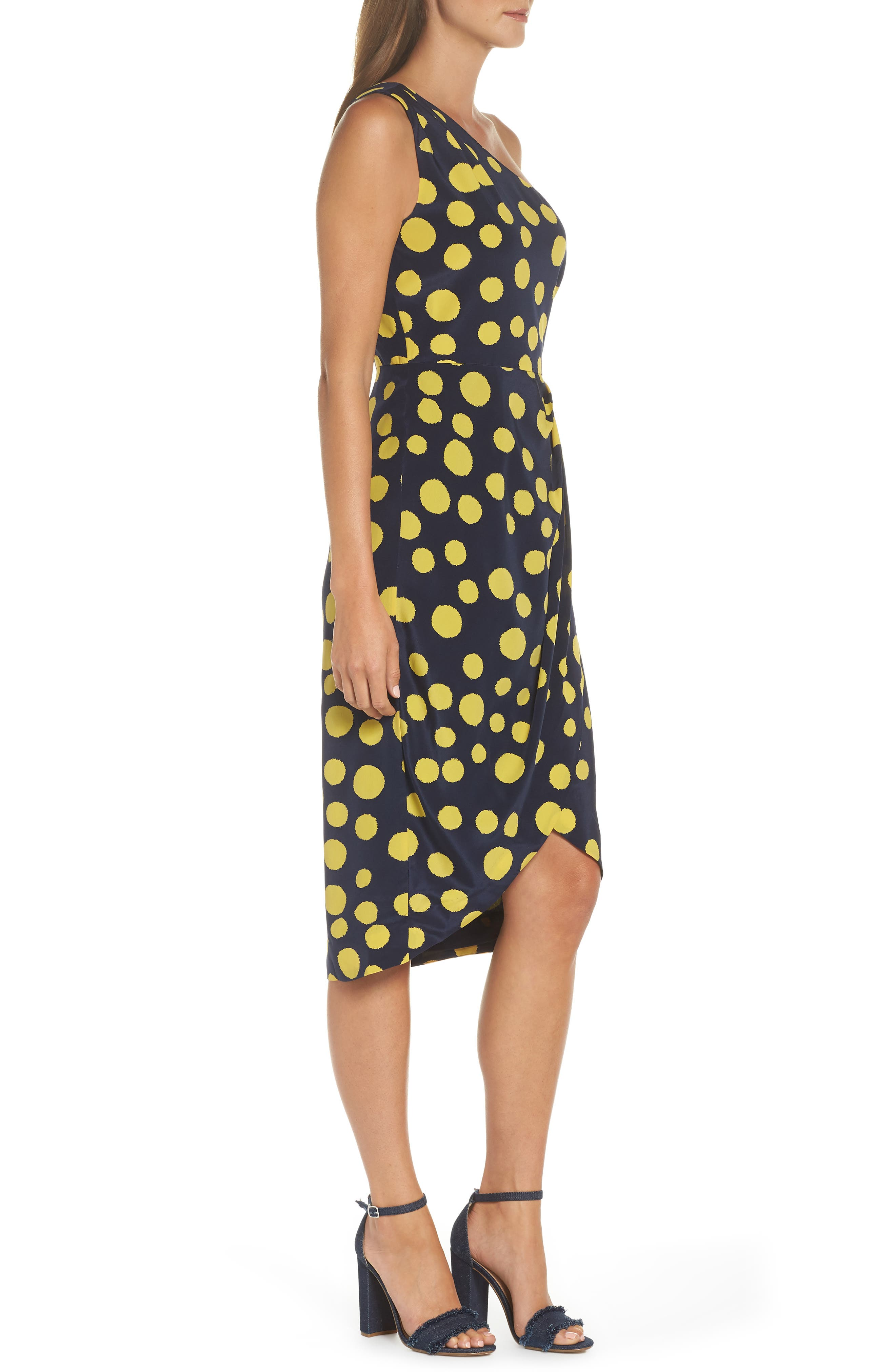Polka Dot One-Shoulder Silk Dress,                             Alternate thumbnail 3, color,                             Navy