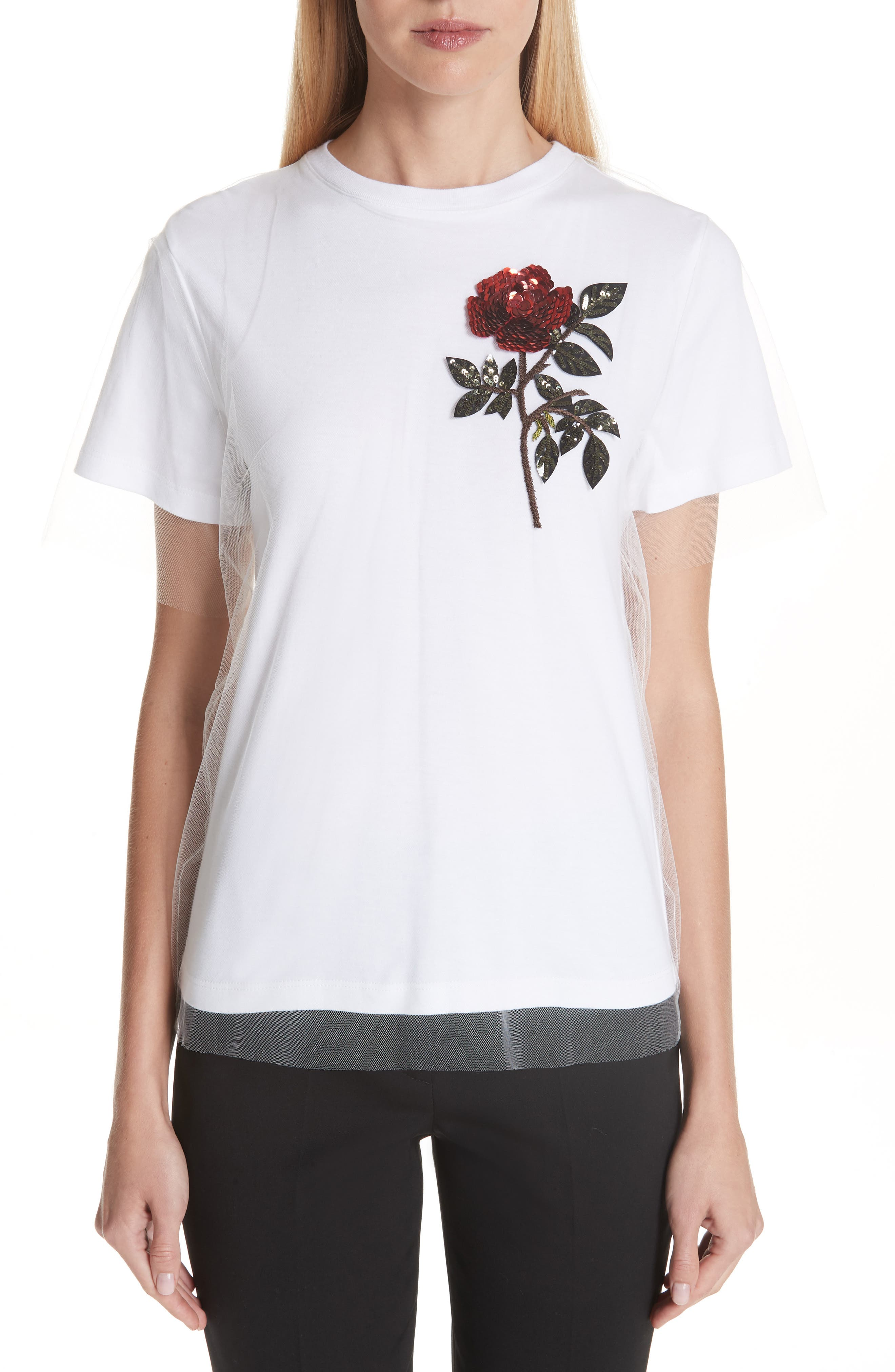 EMBELLISHED TULLE OVERLAY TEE from Nordstrom
