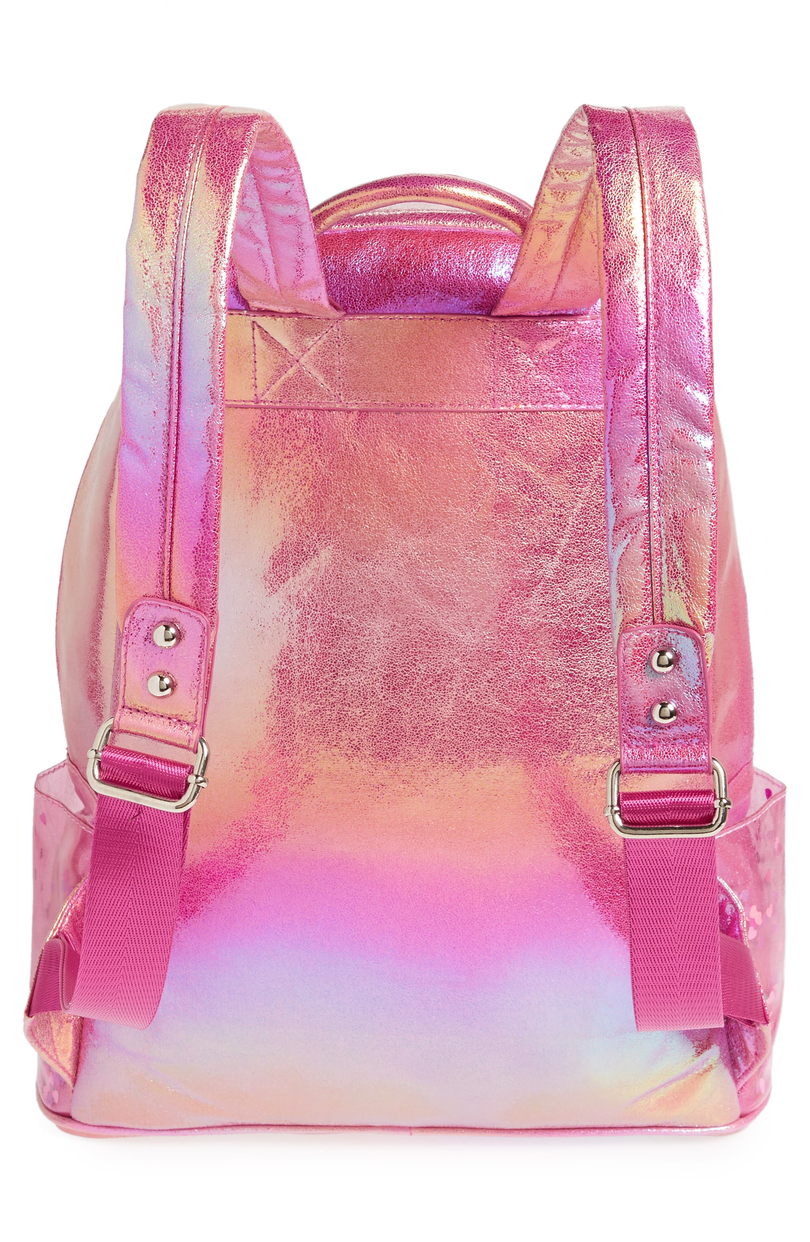 Heart Confetti Holographic Backpack,                             Alternate thumbnail 2, color,                             Pink