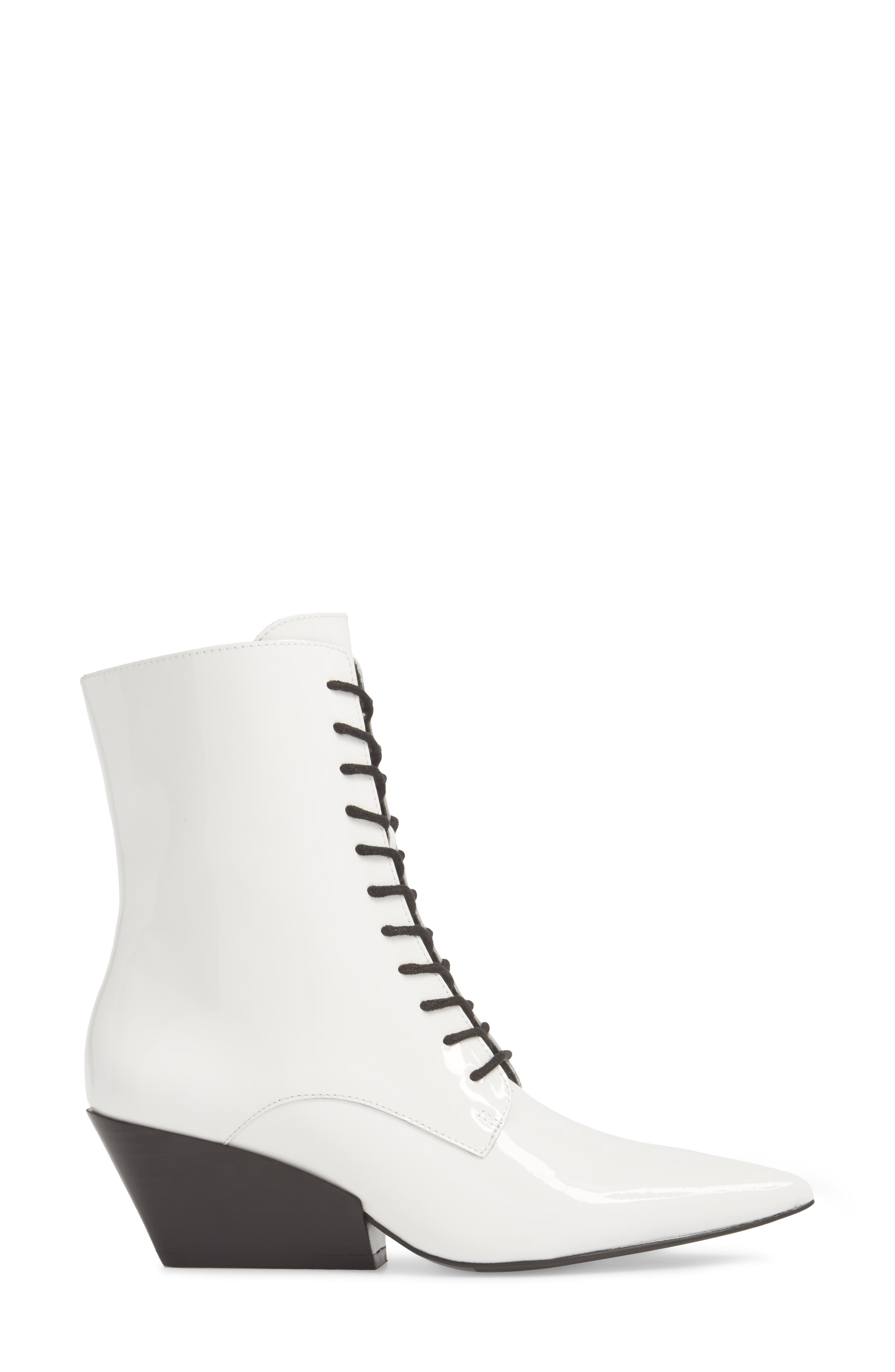 Faith Pointy Toe Laced Bootie,                             Alternate thumbnail 5, color,                             White Patent