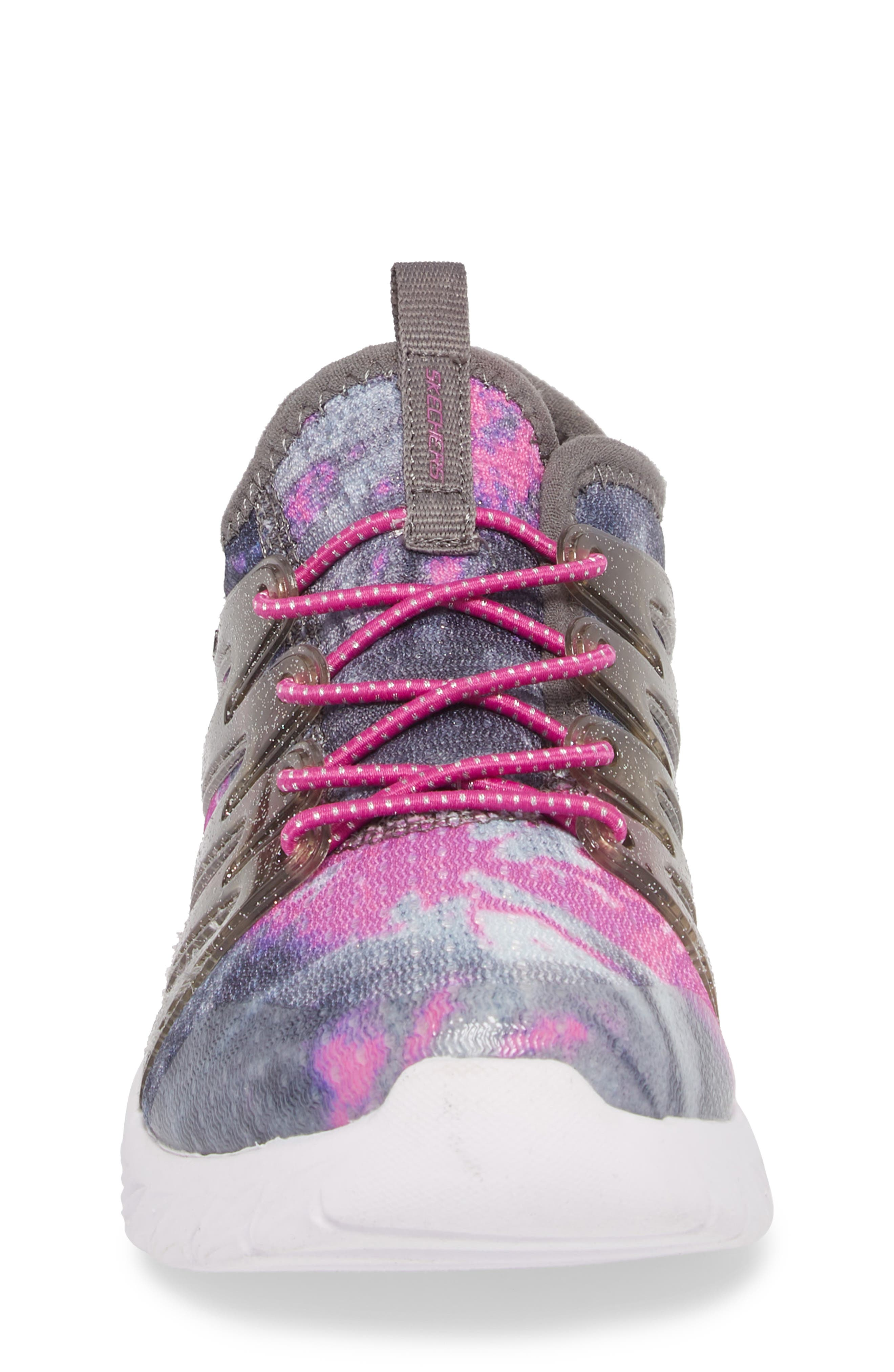 Skech Gem Glitter Sneaker,                             Alternate thumbnail 6, color,                             Charcoal/ Hot Pink