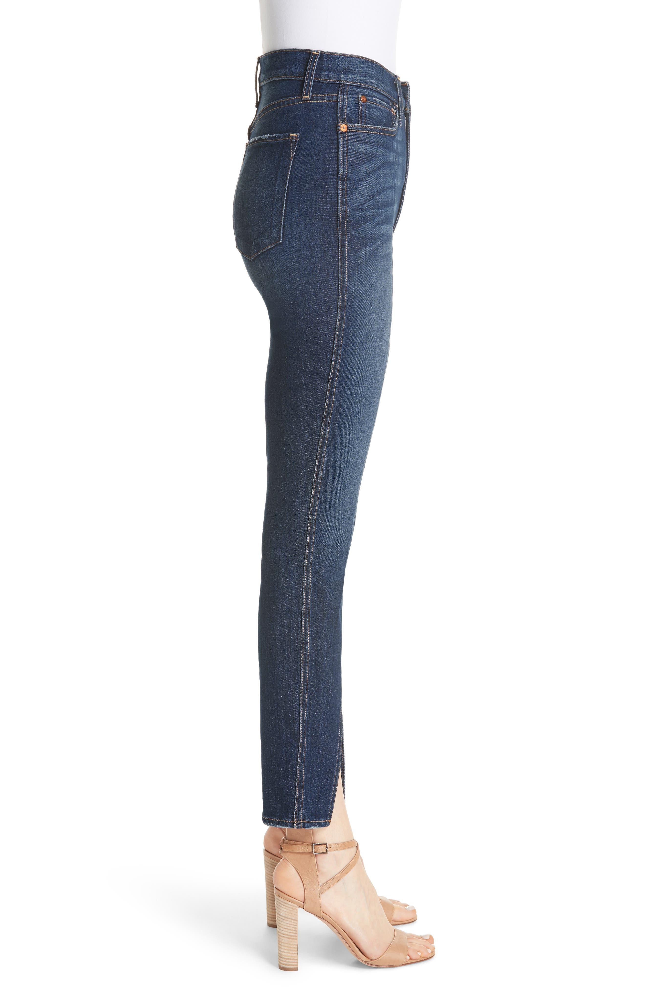 Good High Waist Front Slit Skinny Jeans,                             Alternate thumbnail 3, color,                             Good Times