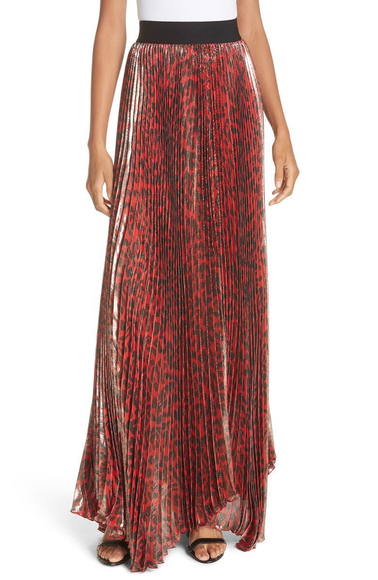 Katz Shimmer Pleat Silk Blend Maxi Skirt