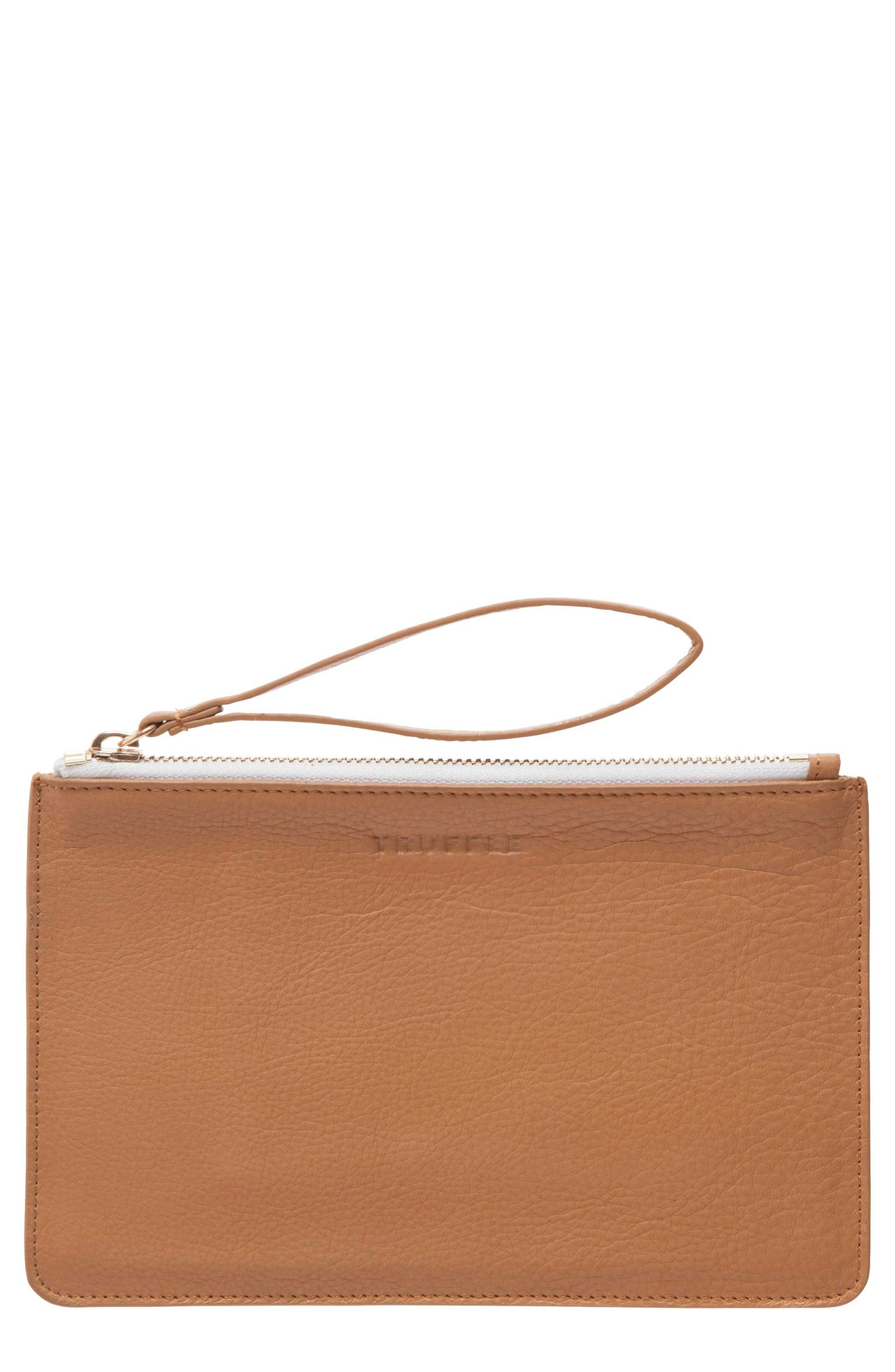 Privacy Leather Wristlet,                         Main,                         color, Caramel