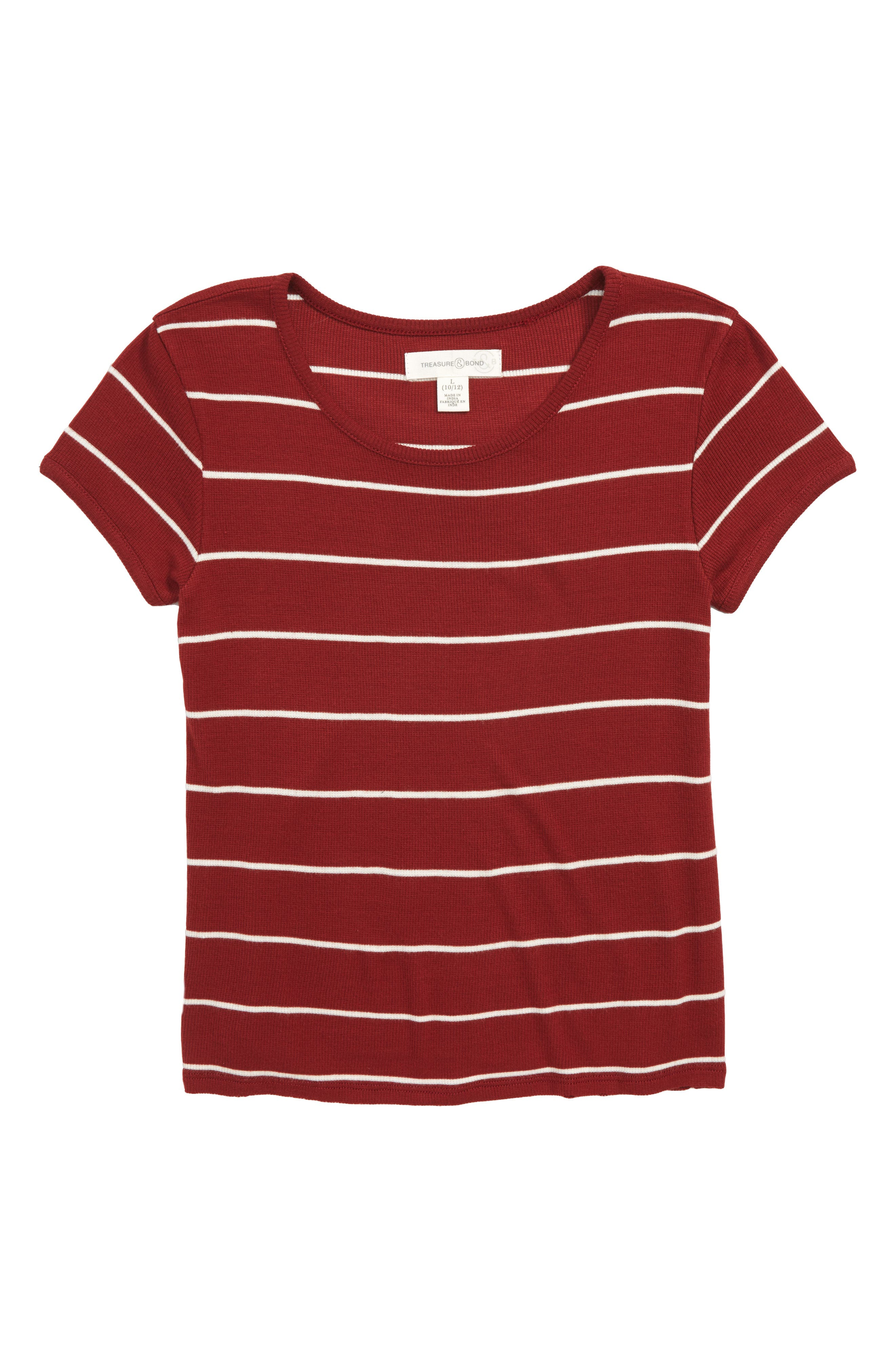 Stripe Knit Tee,                             Main thumbnail 1, color,                             Red Rosewood- Ivory Stripe