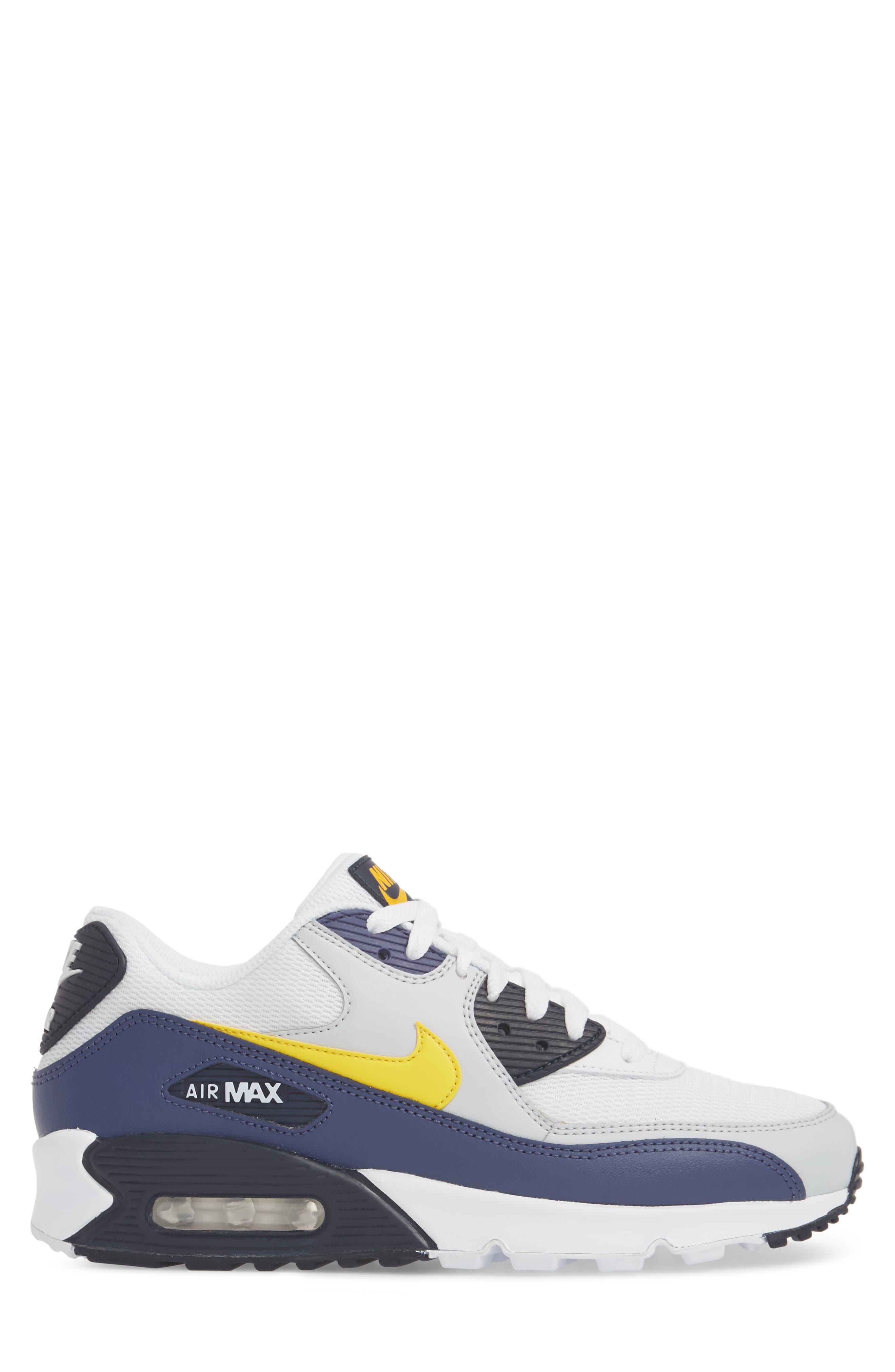 Air Max 90 Essential Sneaker,                             Alternate thumbnail 5, color,                             White/ Tour Yellow/ Blue