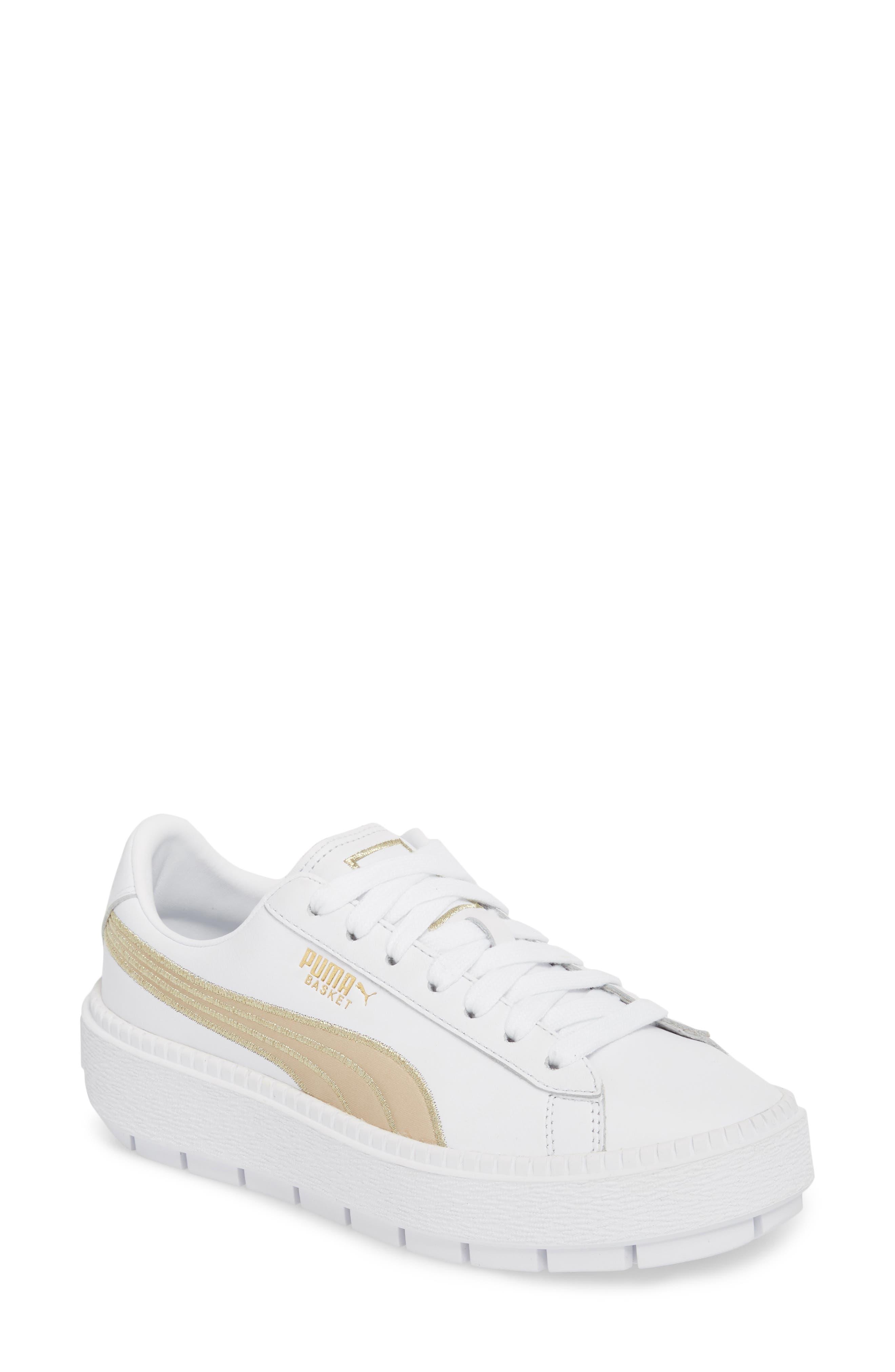 Platform Trace Sneaker,                         Main,                         color, Puma White/ Metallic Gold