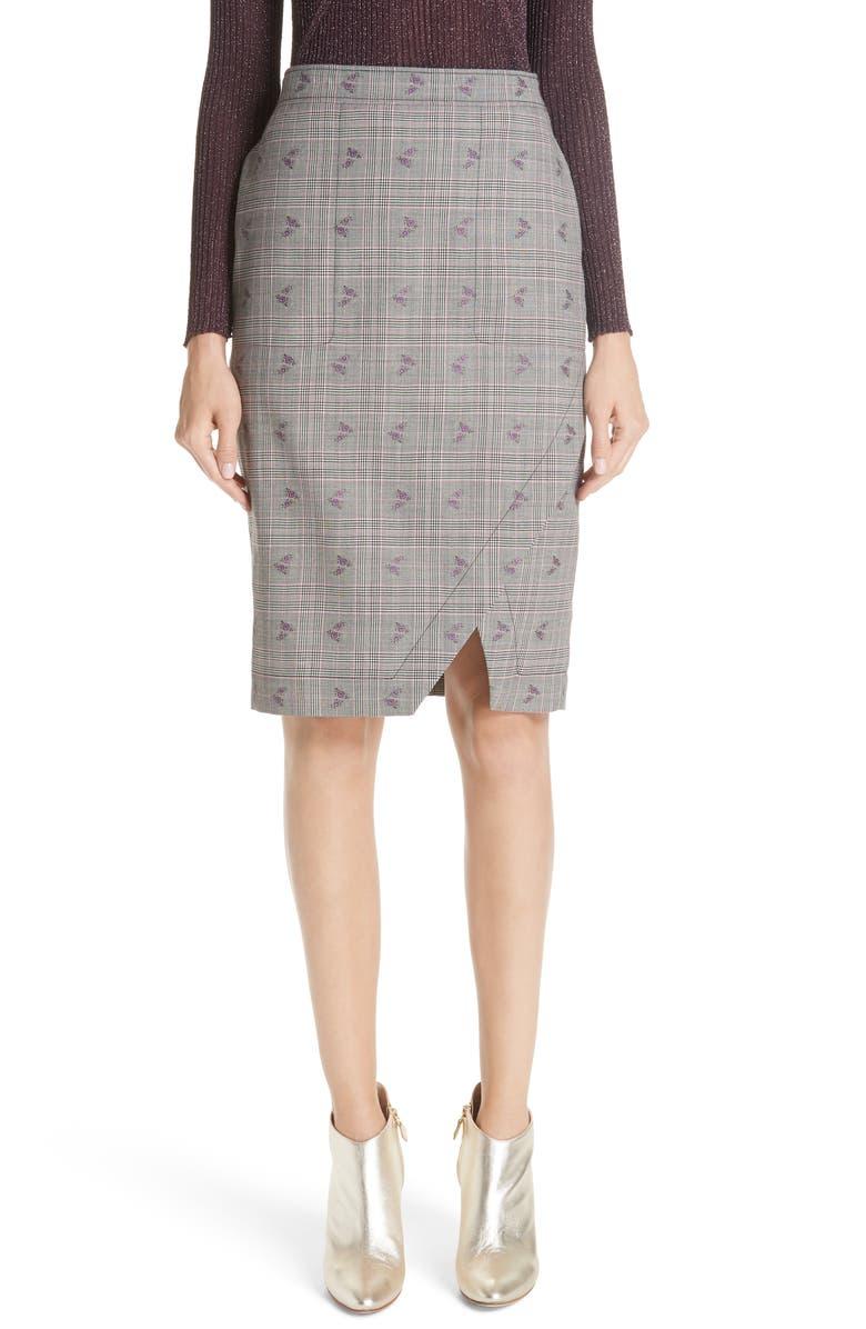 Wilcox Floral Plaid Front Slit Skirt