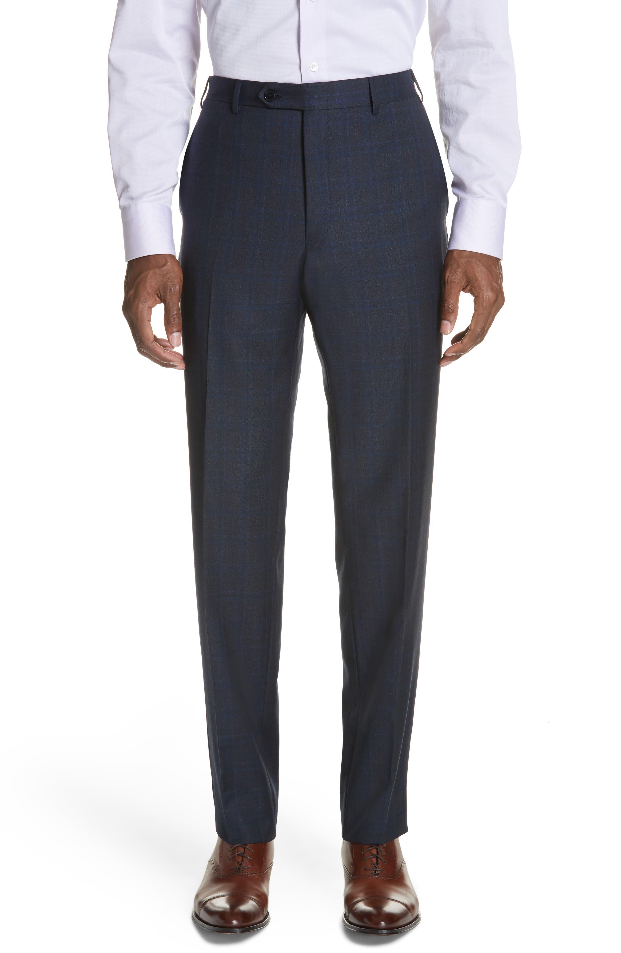 Classic Fit Plaid Wool Suit,                             Alternate thumbnail 6, color,                             Charcoal