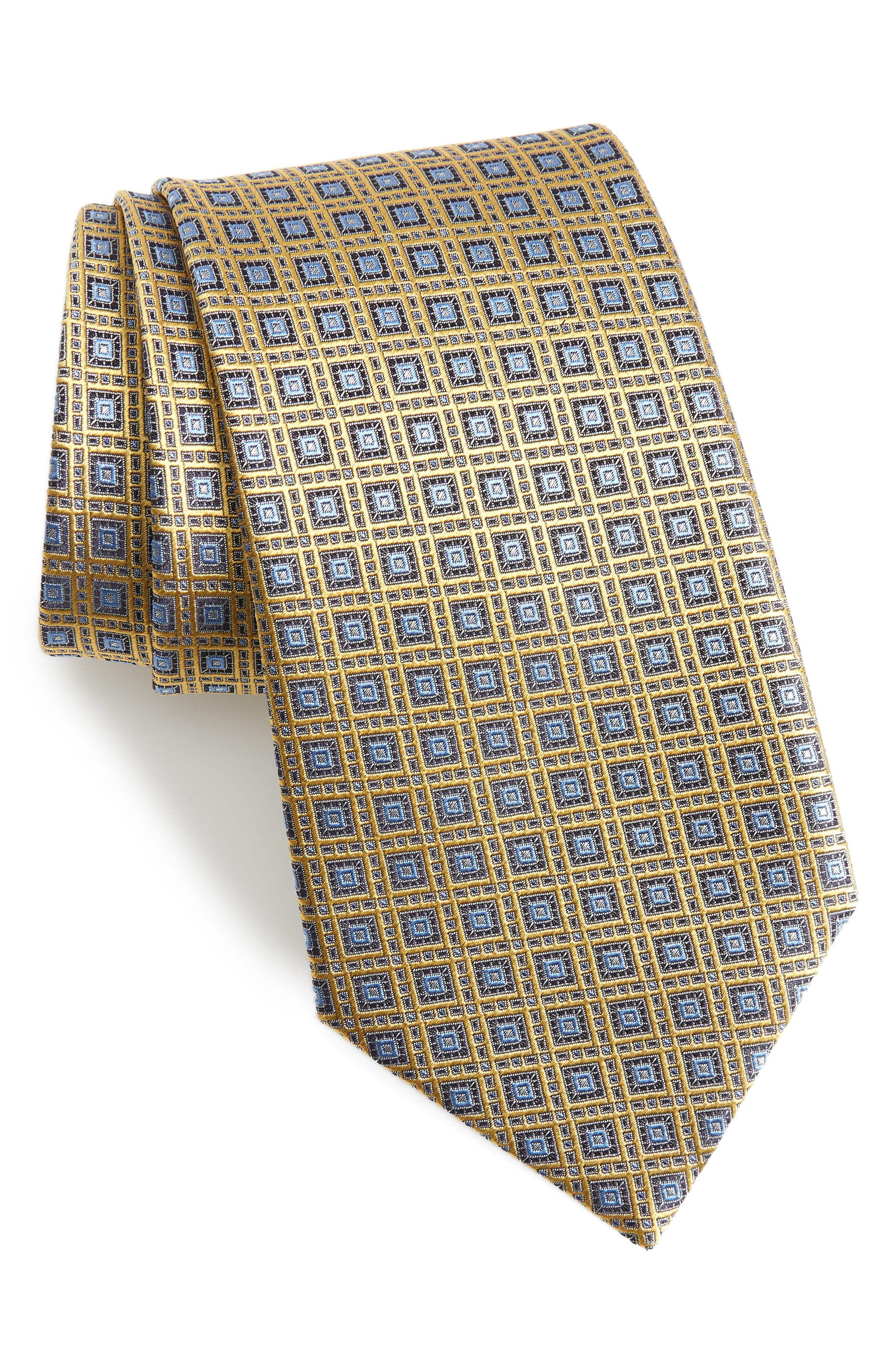 Medallion Silk Tie,                         Main,                         color, Yellow