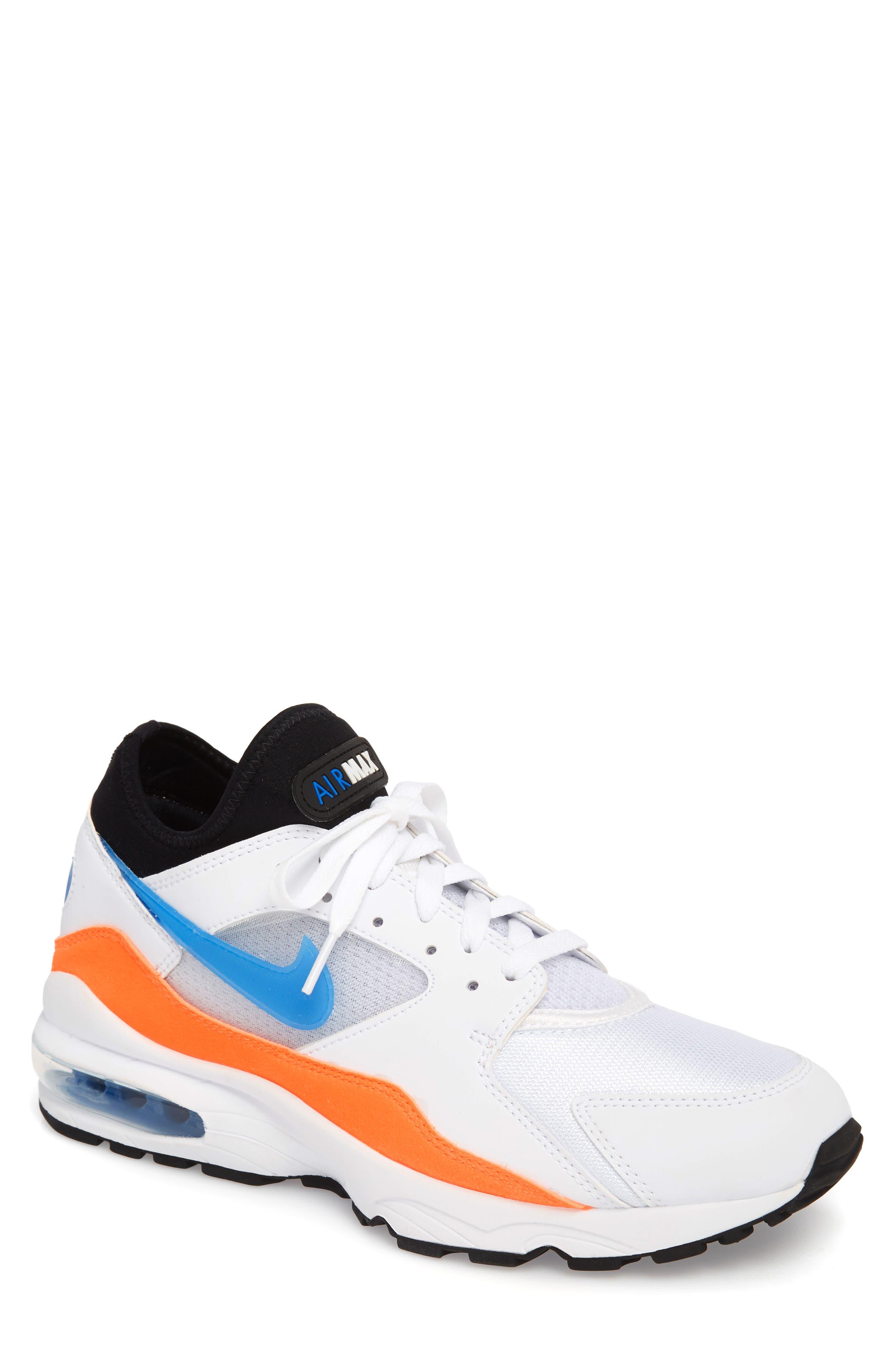 Air Max 93 Sneaker,                             Main thumbnail 1, color,                             White/ Blue Nebula/ Orange