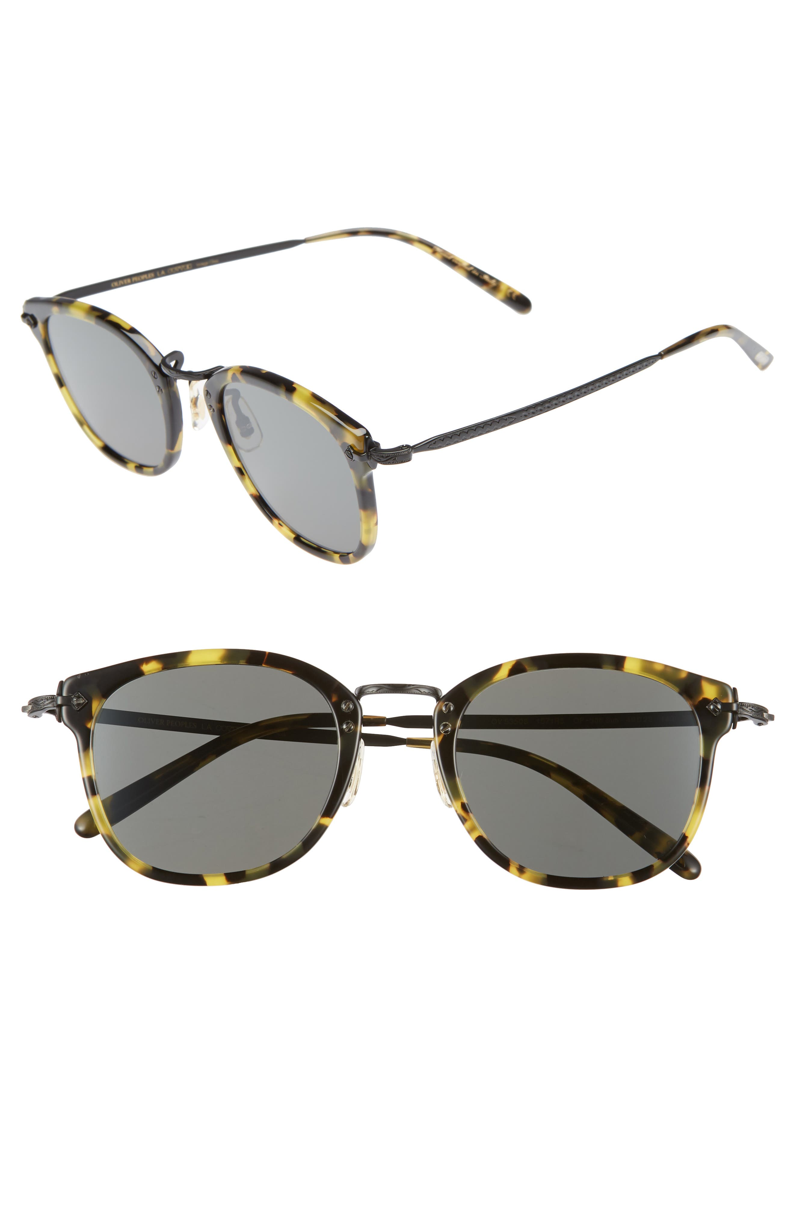 49mm Round Sunglasses,                             Main thumbnail 1, color,                             Vintage Dark Tortoise