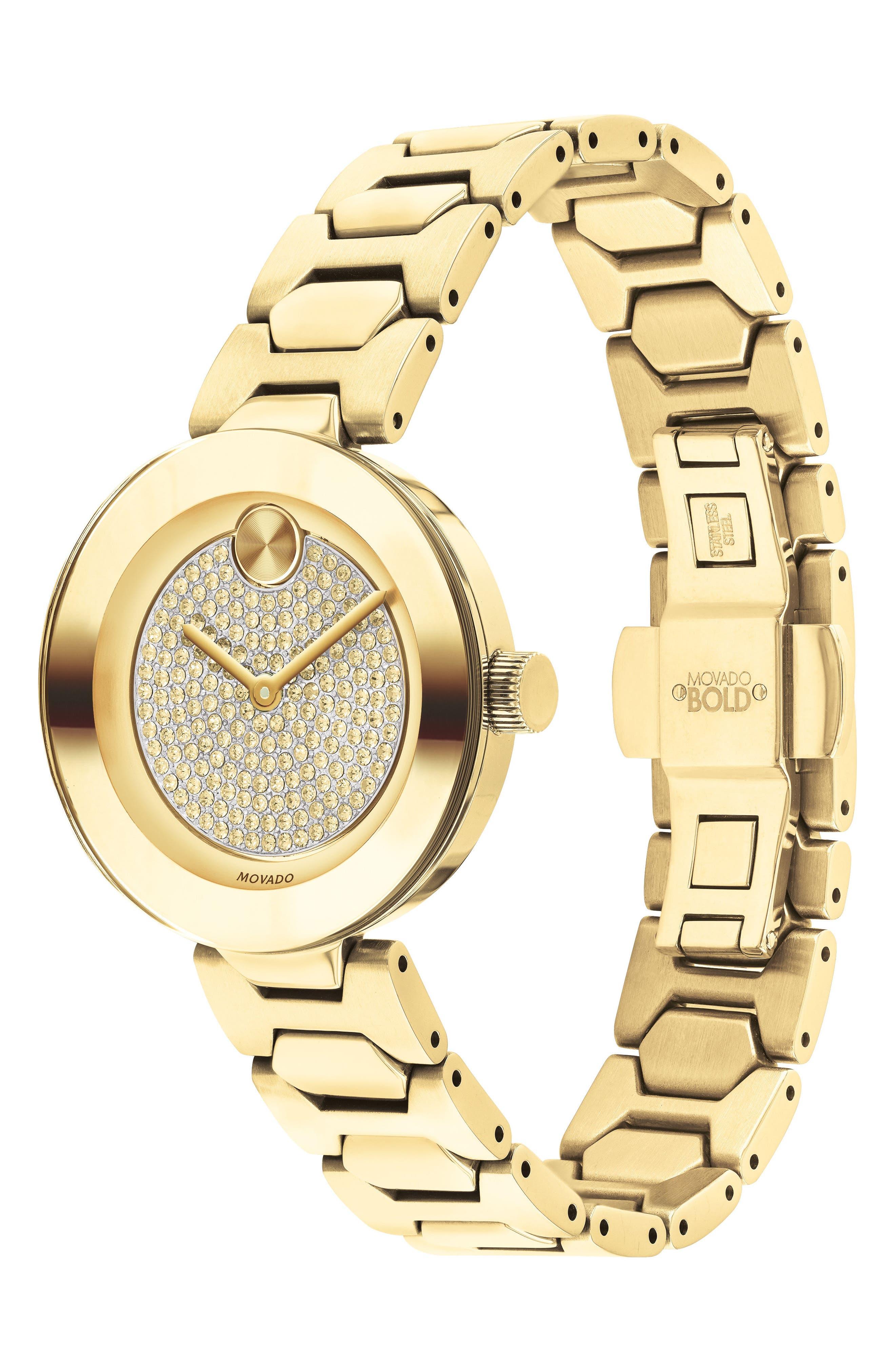 Bold Pavé T-Bar Bracelet Watch, 32mm,                             Alternate thumbnail 3, color,                             Gold