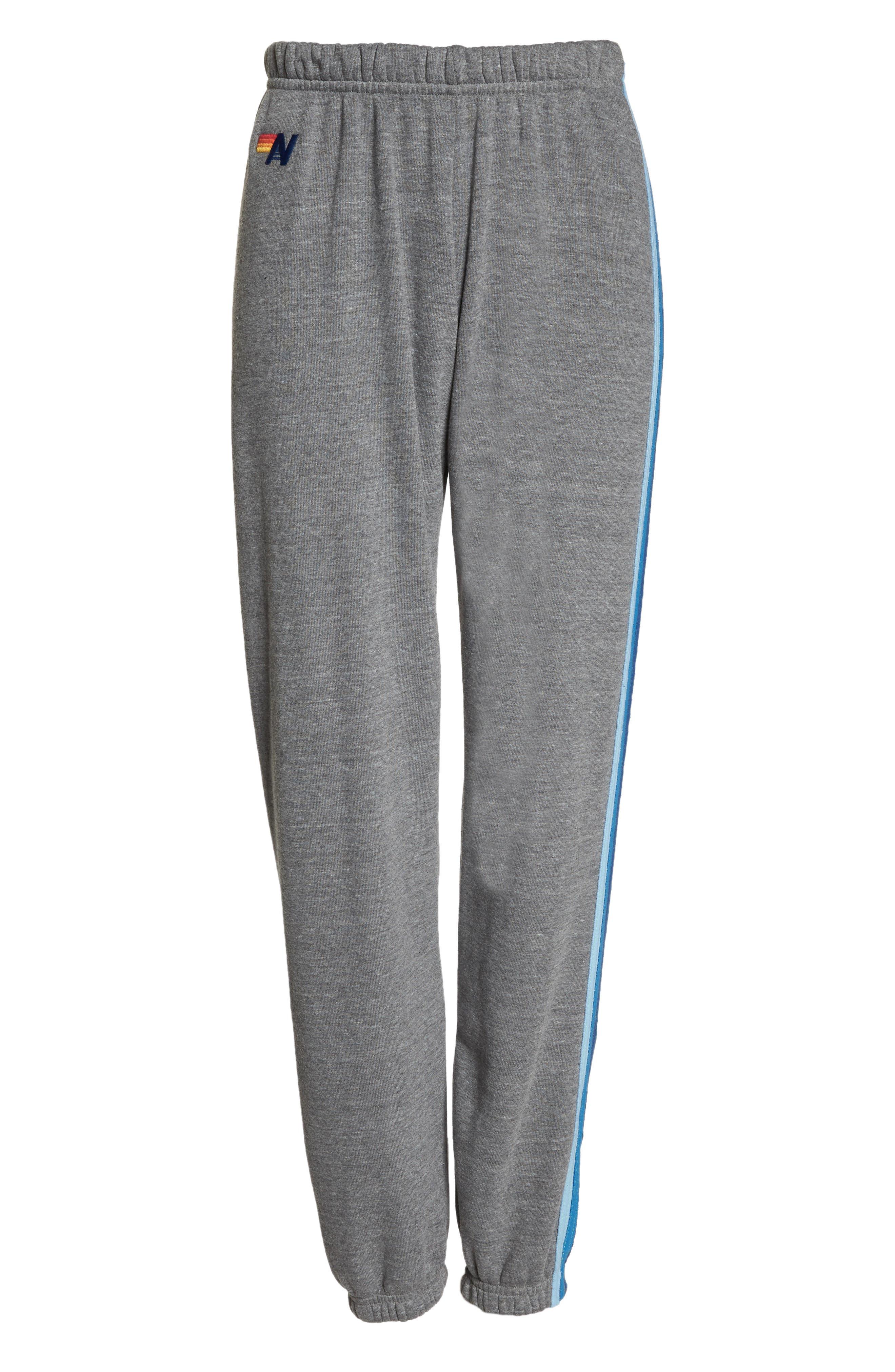 Stripe Sweatpants,                             Alternate thumbnail 4, color,                             Heather Grey/ Blue Stripes