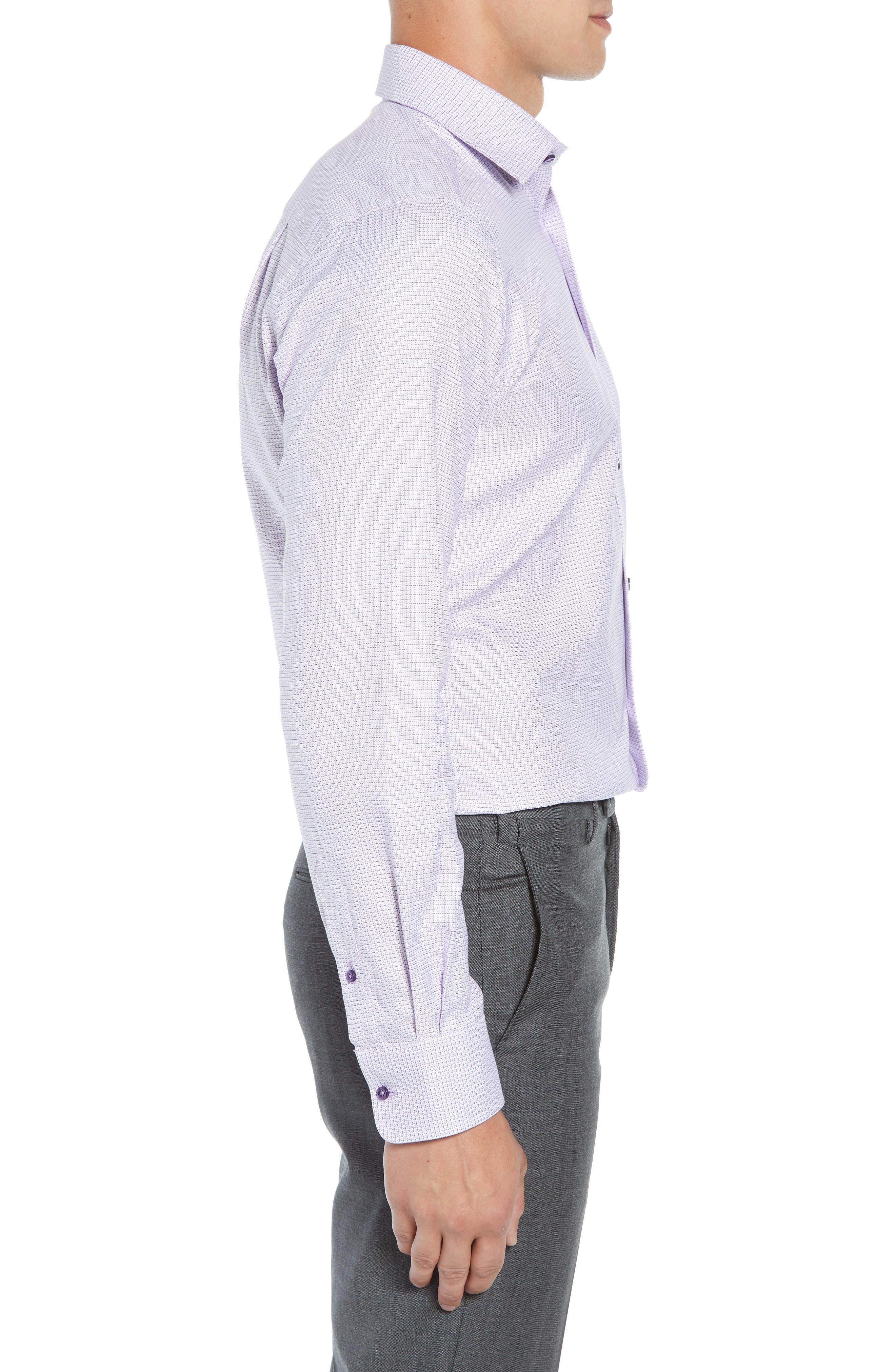 Regular Fit Check Dress Shirt,                             Alternate thumbnail 4, color,                             Lilac
