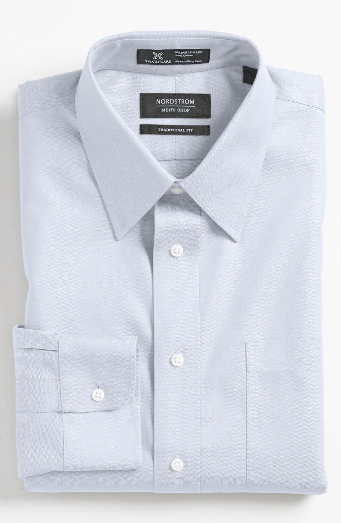 Alternate Image 1 Selected - Nordstrom Men's Shop Smartcare™ Wrinkle Free Traditional Fit Herringbone Dress Shirt