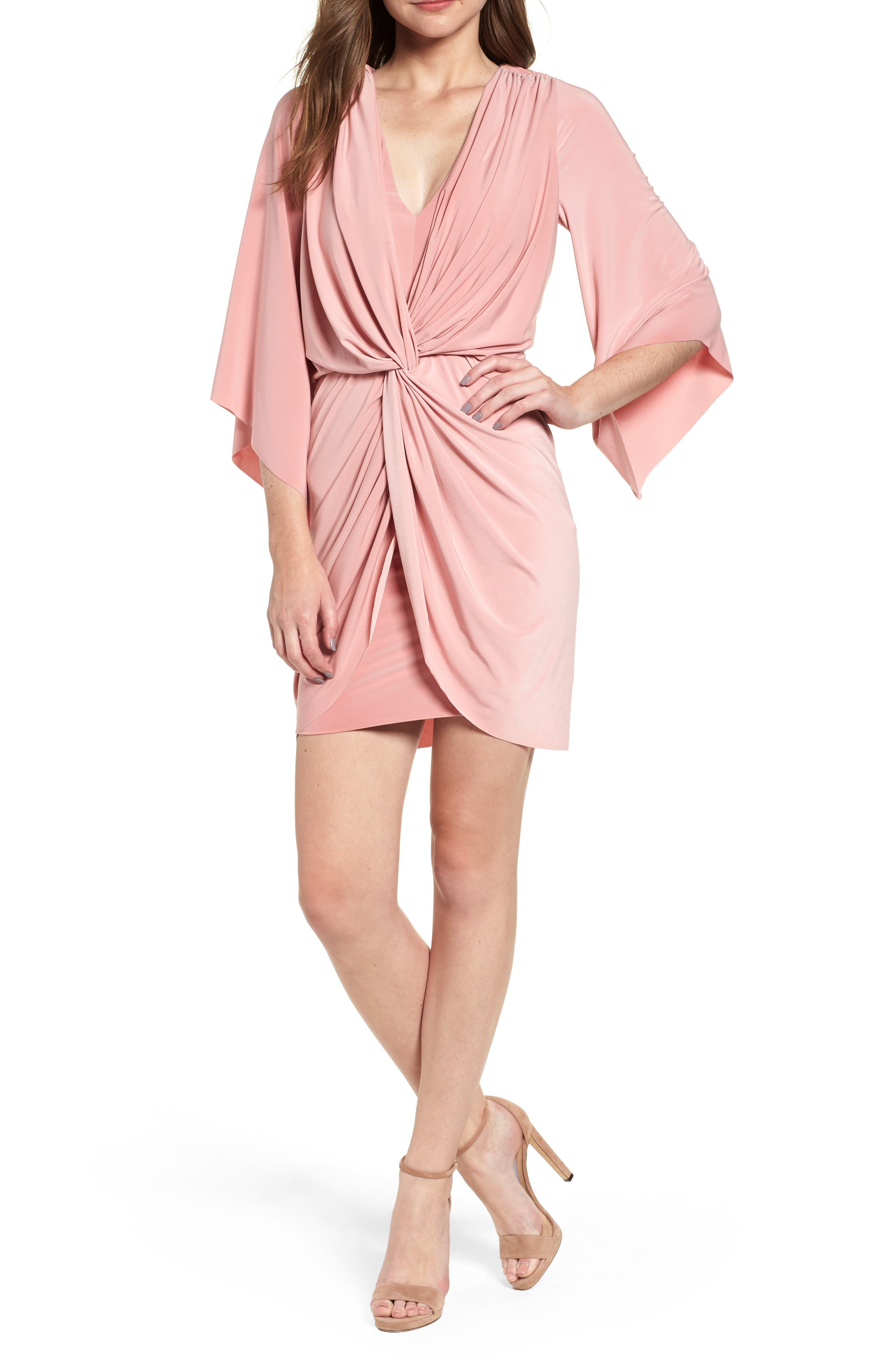 Teget Knot Front Dress,                             Main thumbnail 1, color,                             Dusty Rose
