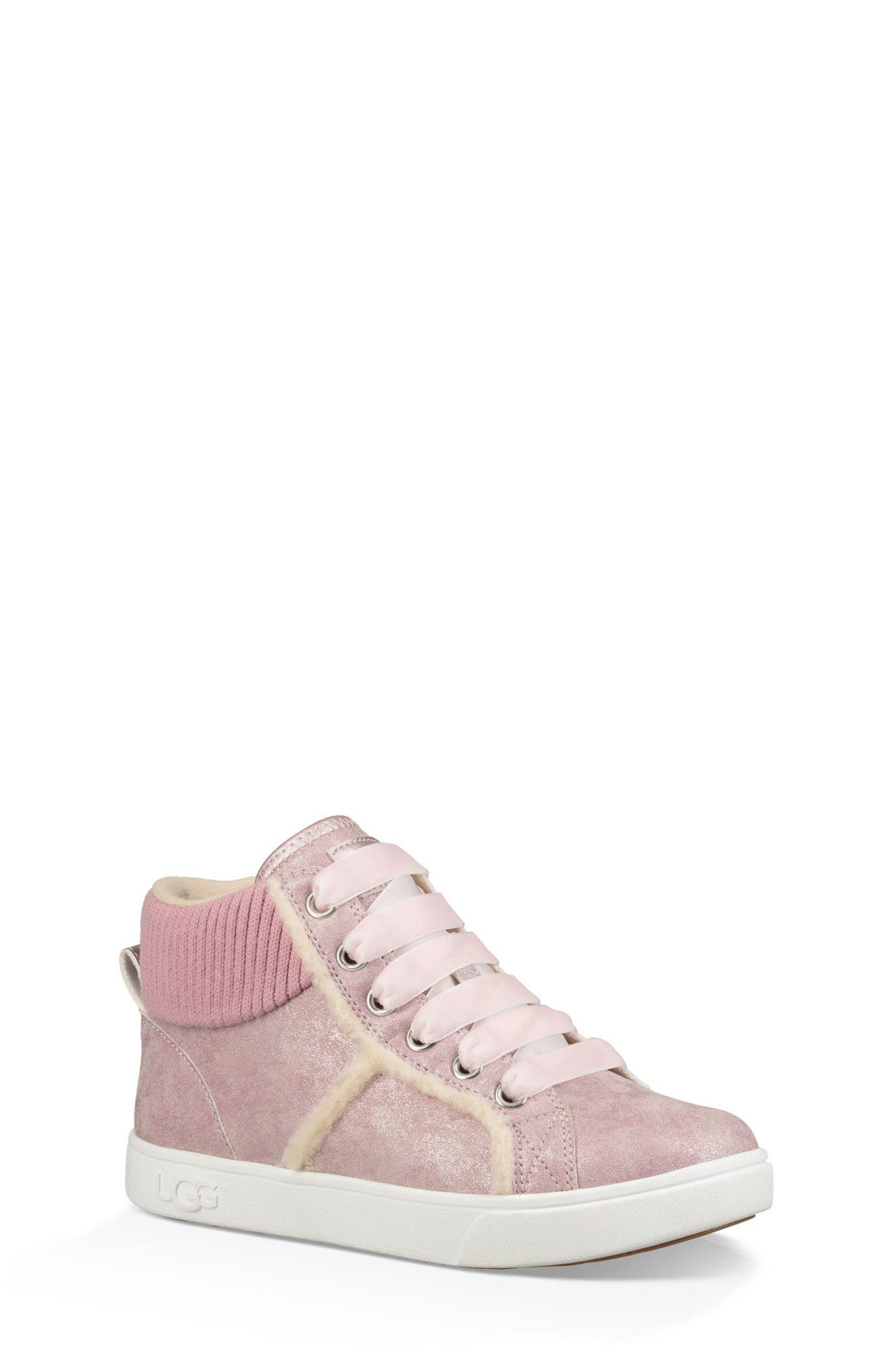 Addie Genuine Shearling High Top Sneaker,                             Main thumbnail 1, color,                             Cameo Pink