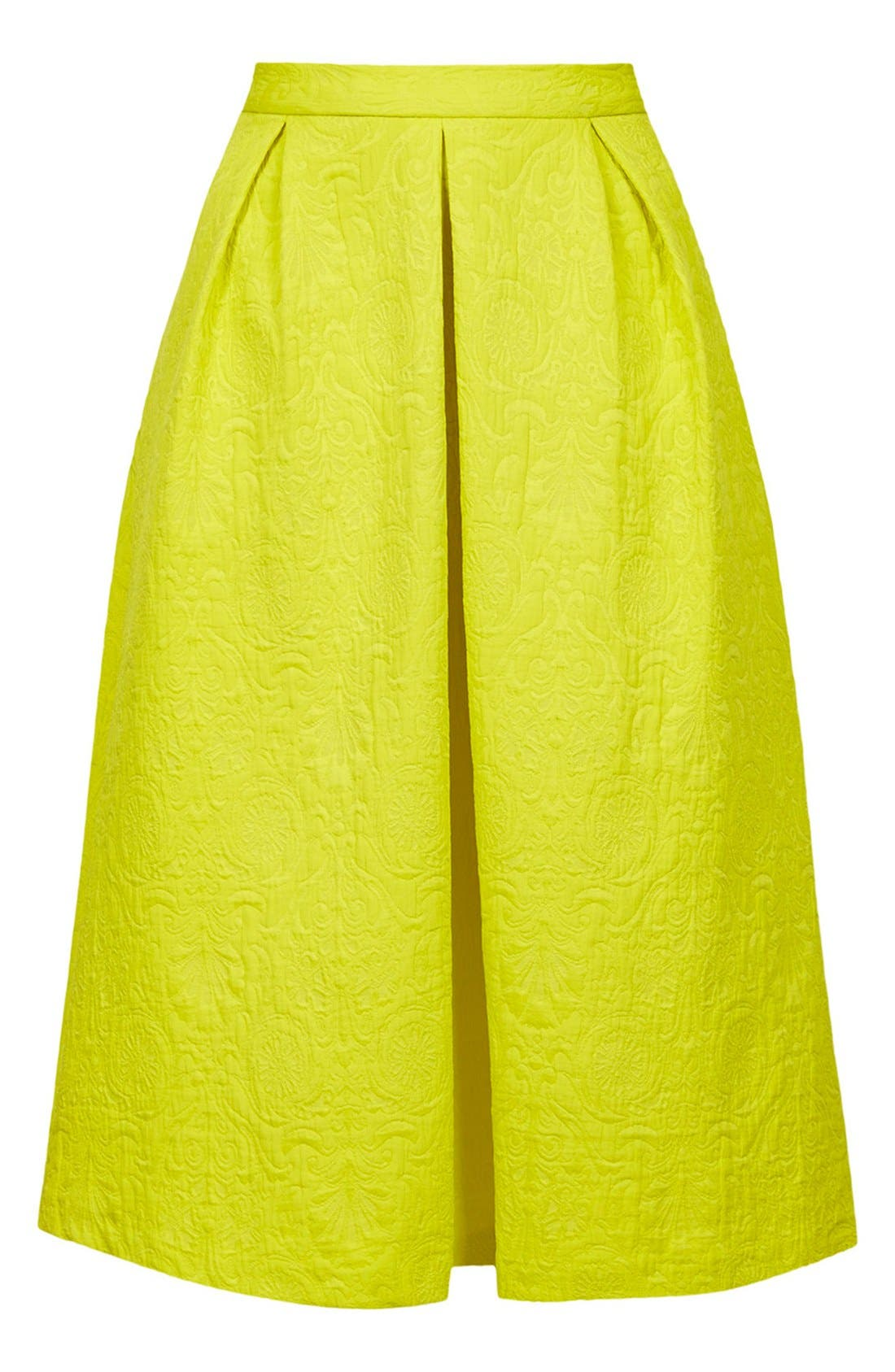 Pleated Jacquard Midi Skirt,                             Alternate thumbnail 3, color,                             Yellow