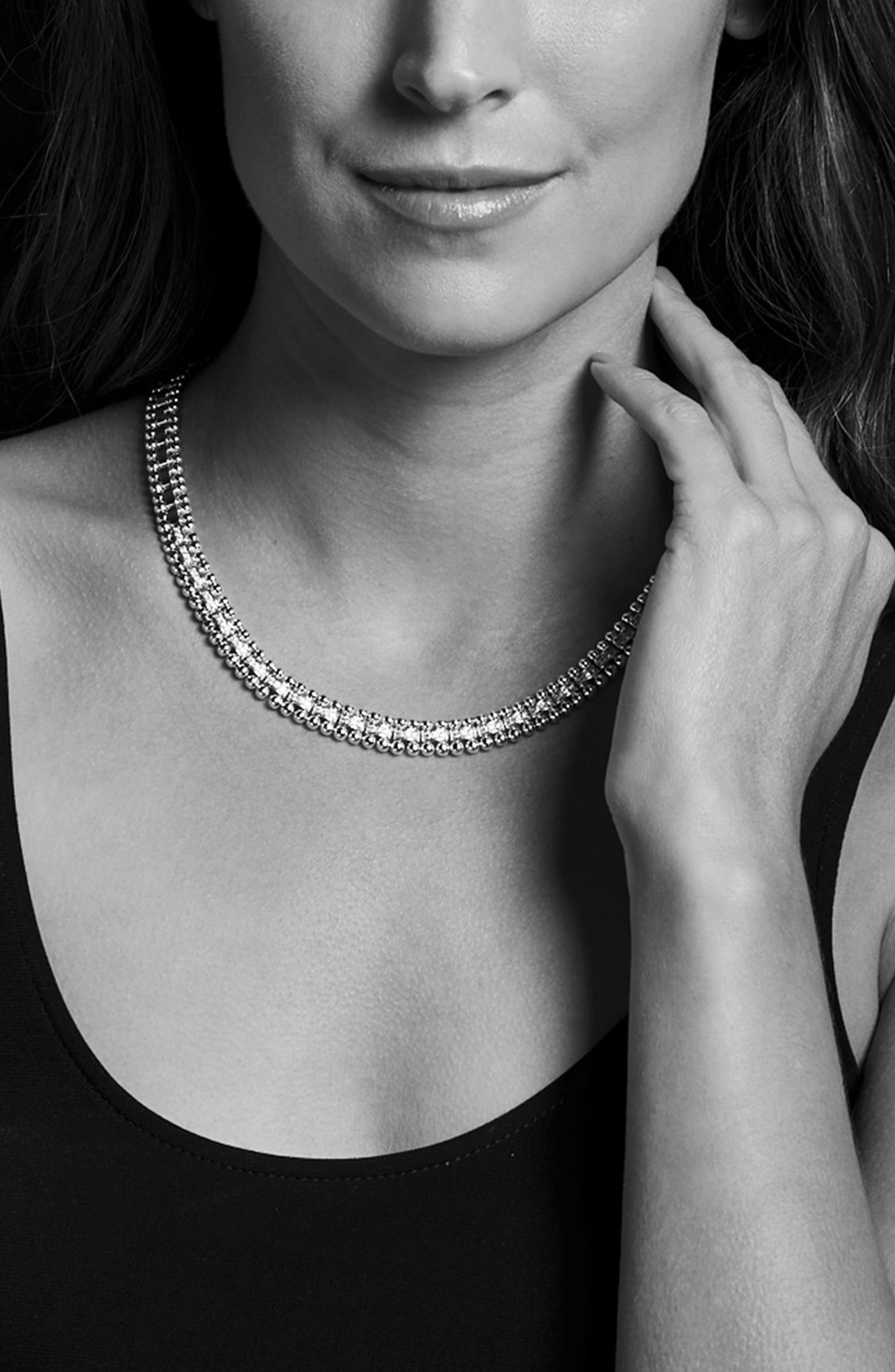 Caviar Spark Diamond Collar Necklace,                             Alternate thumbnail 2, color,                             Silver/ Diamond