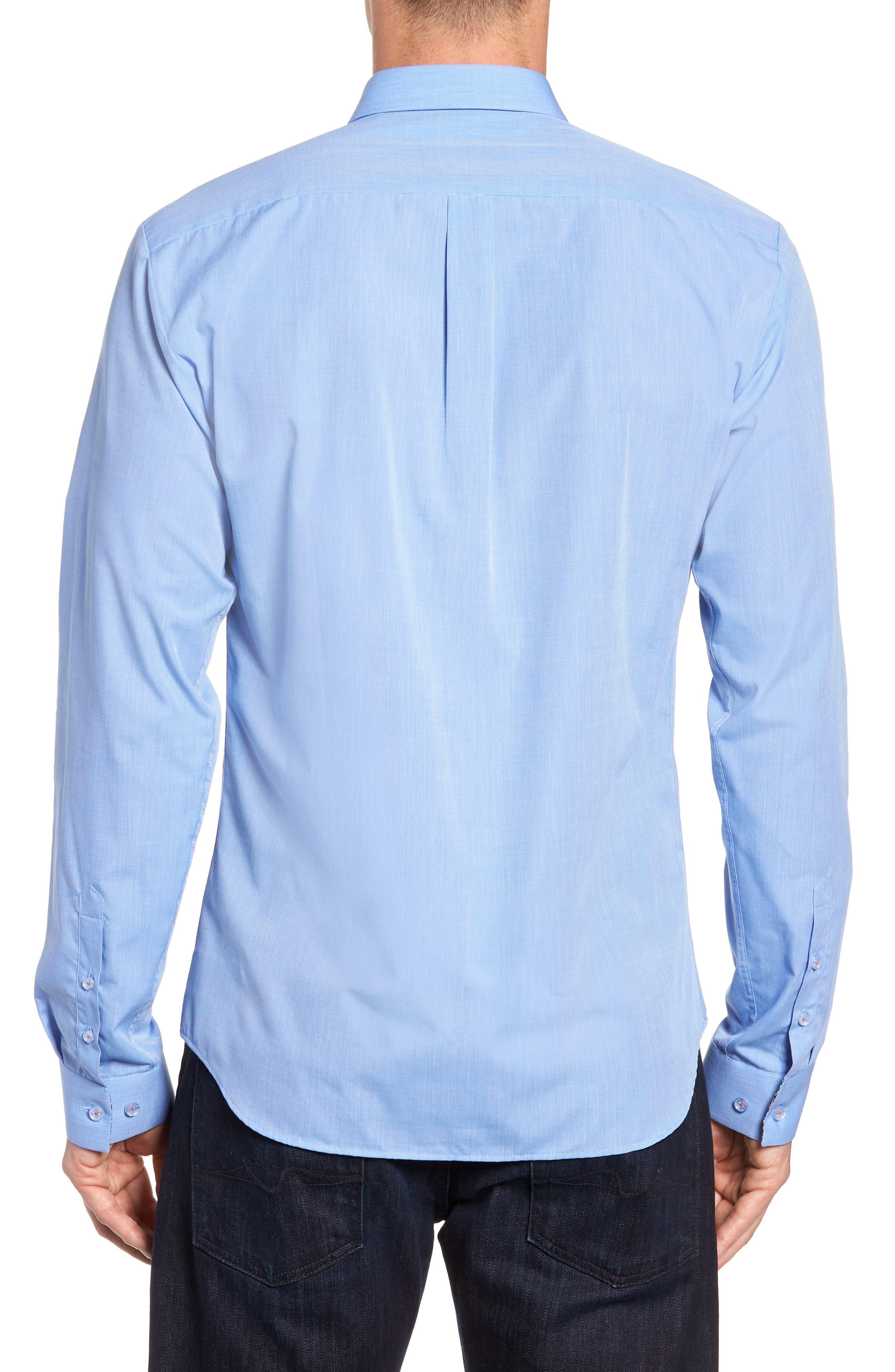 Trim Fit Sport Shirt,                             Alternate thumbnail 3, color,                             Baby Blue