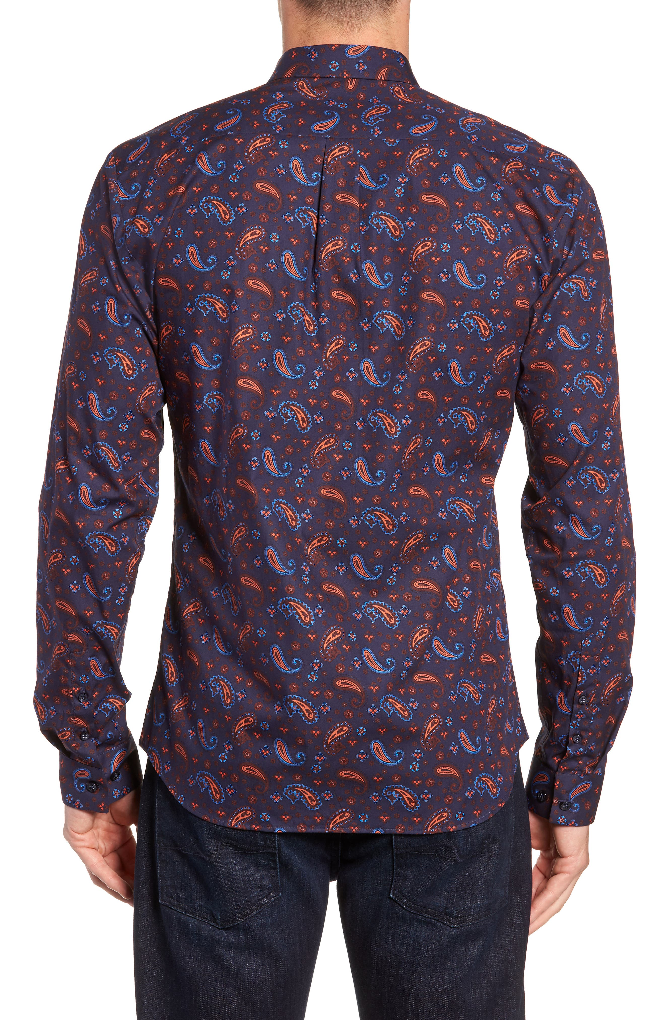 Paisley Print Sport Shirt,                             Alternate thumbnail 3, color,                             Navy Orange Print
