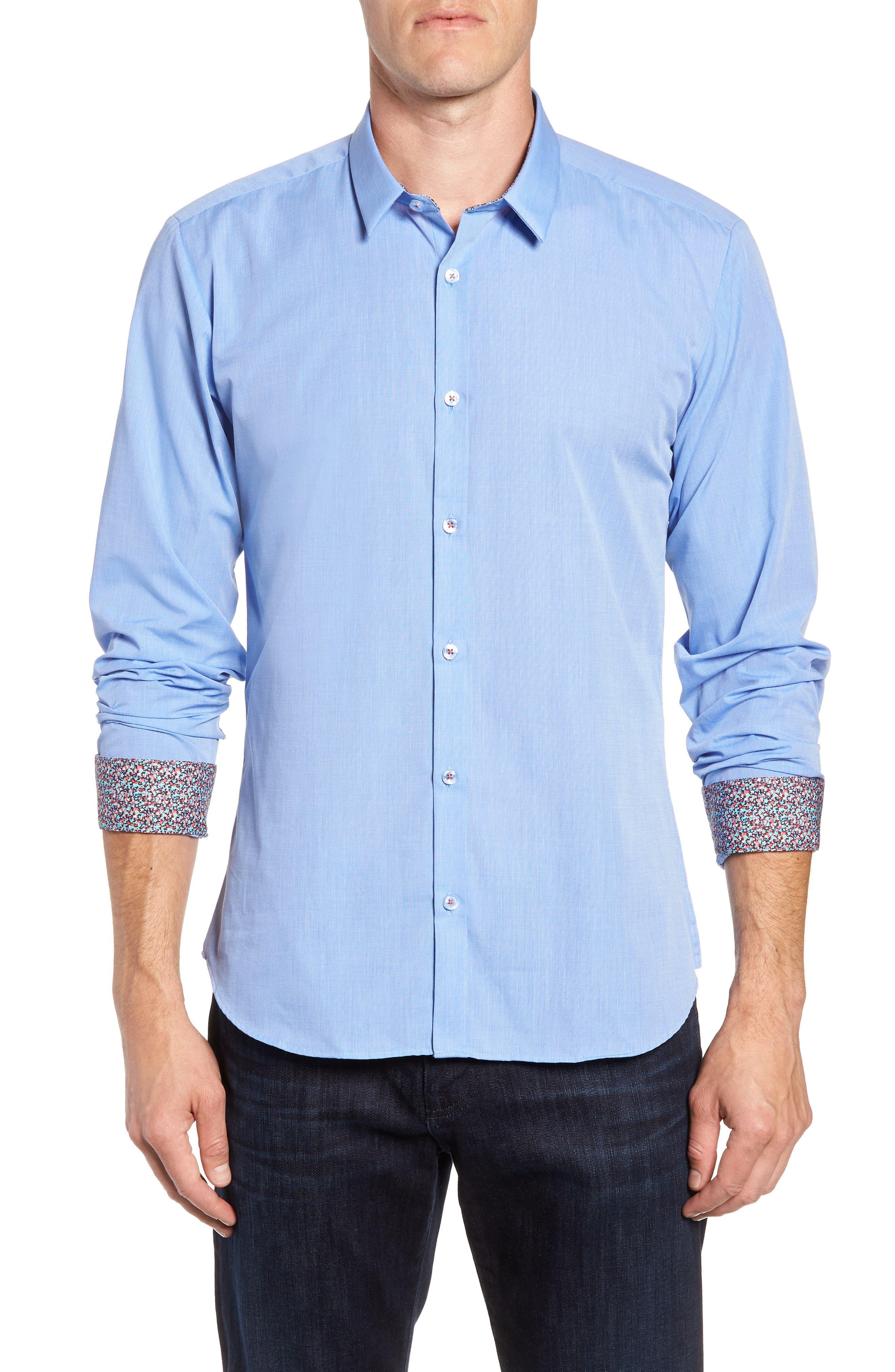 Trim Fit Sport Shirt,                             Main thumbnail 1, color,                             Baby Blue