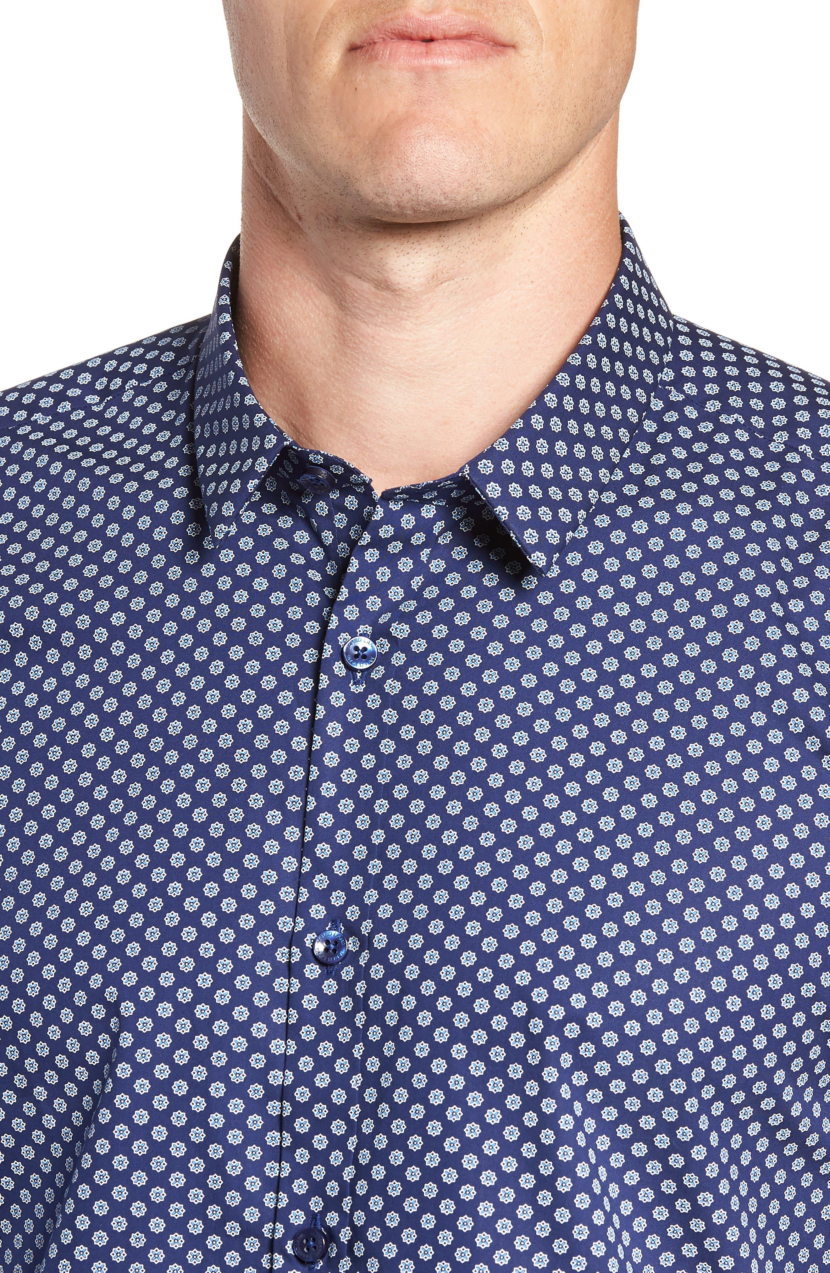 Medallion Print Sport Shirt,                             Alternate thumbnail 2, color,                             Blue Micro Print