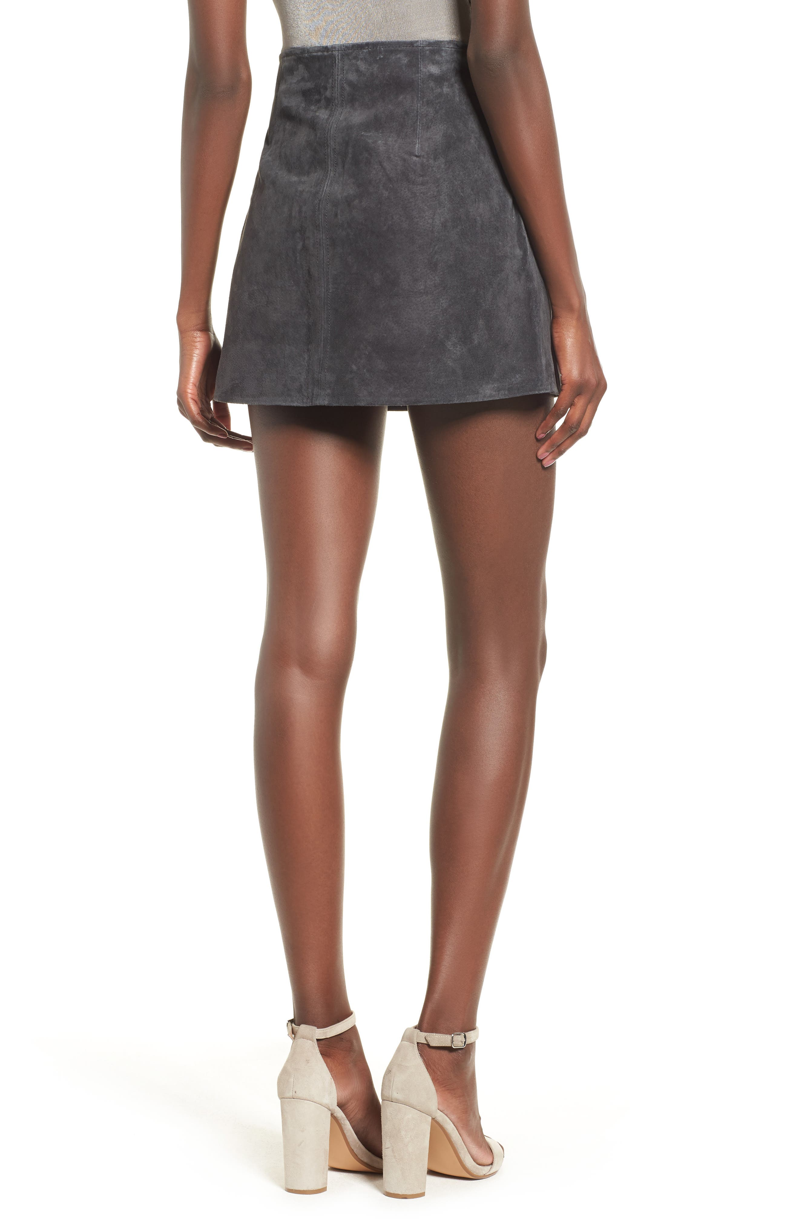 Suede Miniskirt,                             Alternate thumbnail 2, color,                             Dark And Stormy