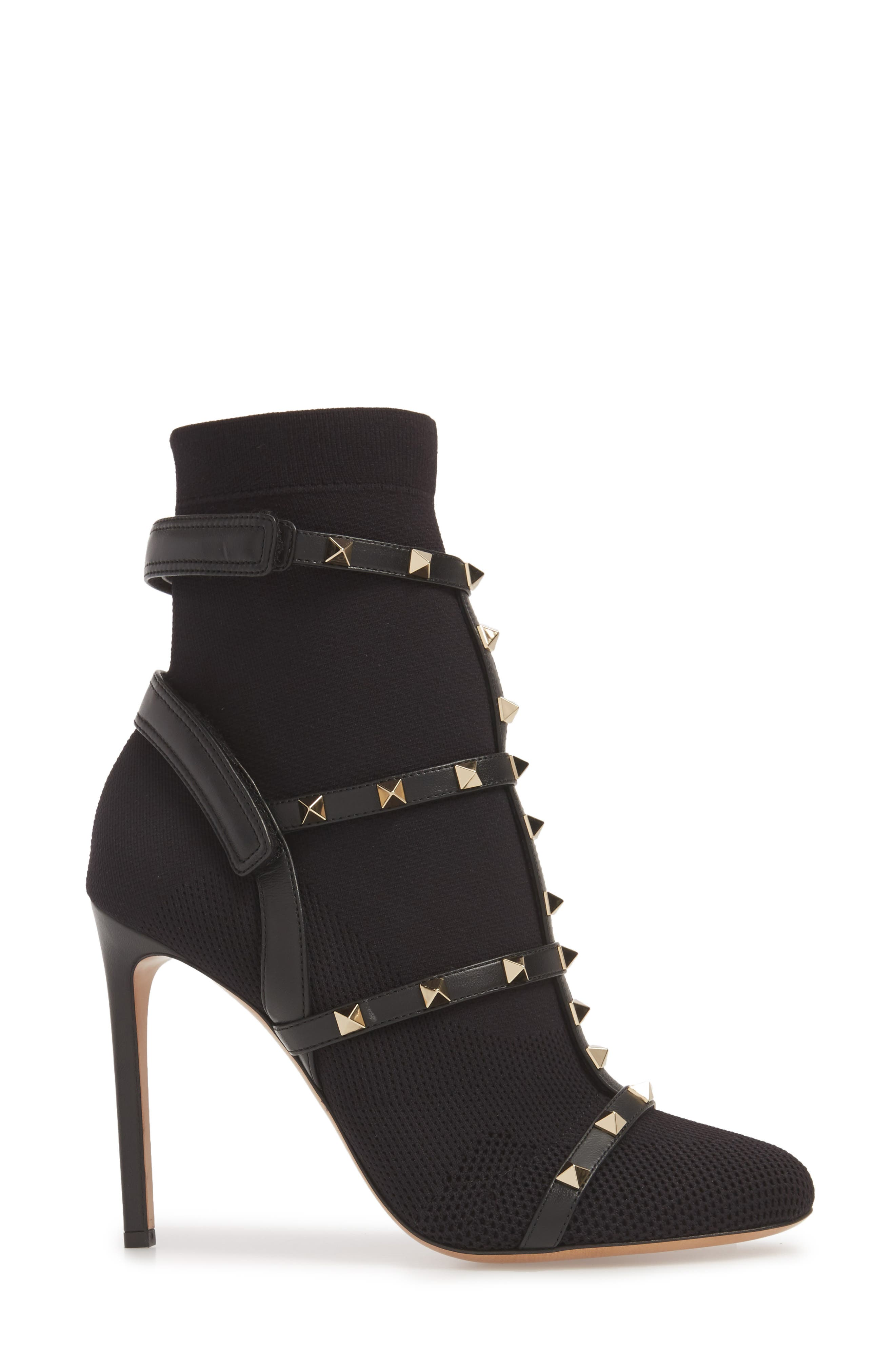Rockstud Bodytech Bootie,                             Alternate thumbnail 3, color,                             Black Nappa