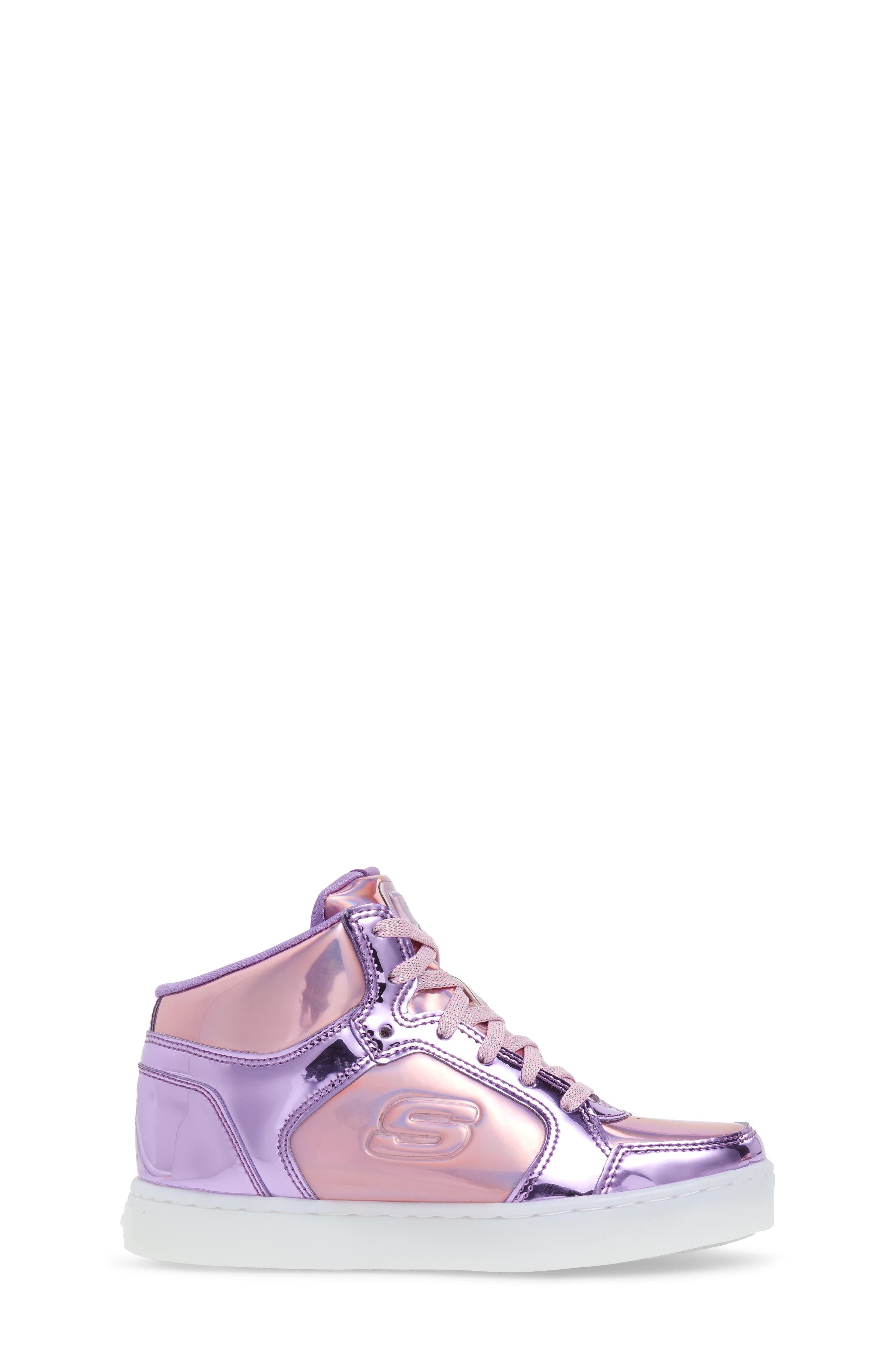 Energy Lights Metallic High Top Sneaker,                             Alternate thumbnail 5, color,                             Pink/ Purple