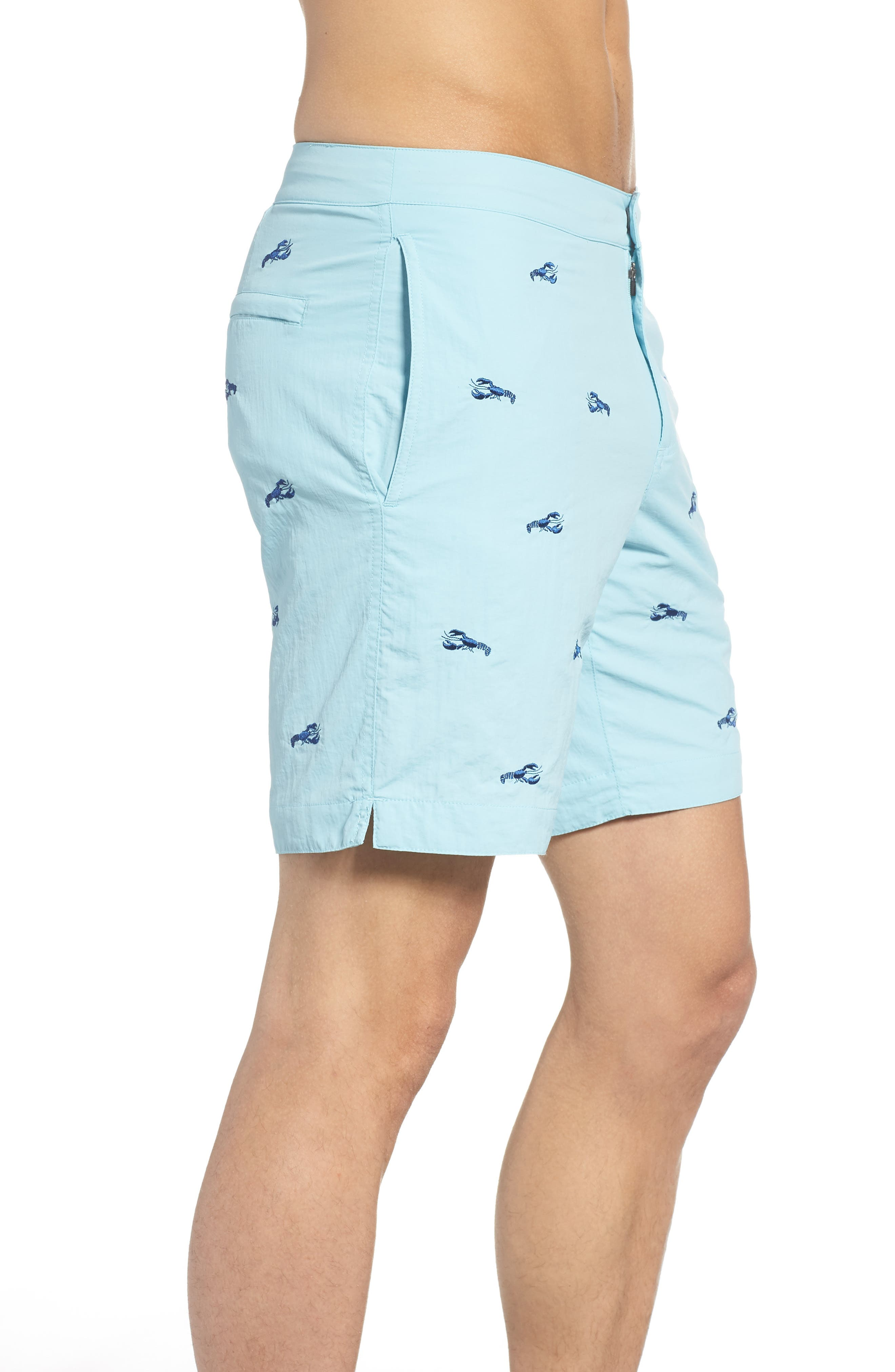 Aruba Embroidered Lobster Swim Trunks,                             Alternate thumbnail 5, color,                             Aqua Embroidered Lobsters