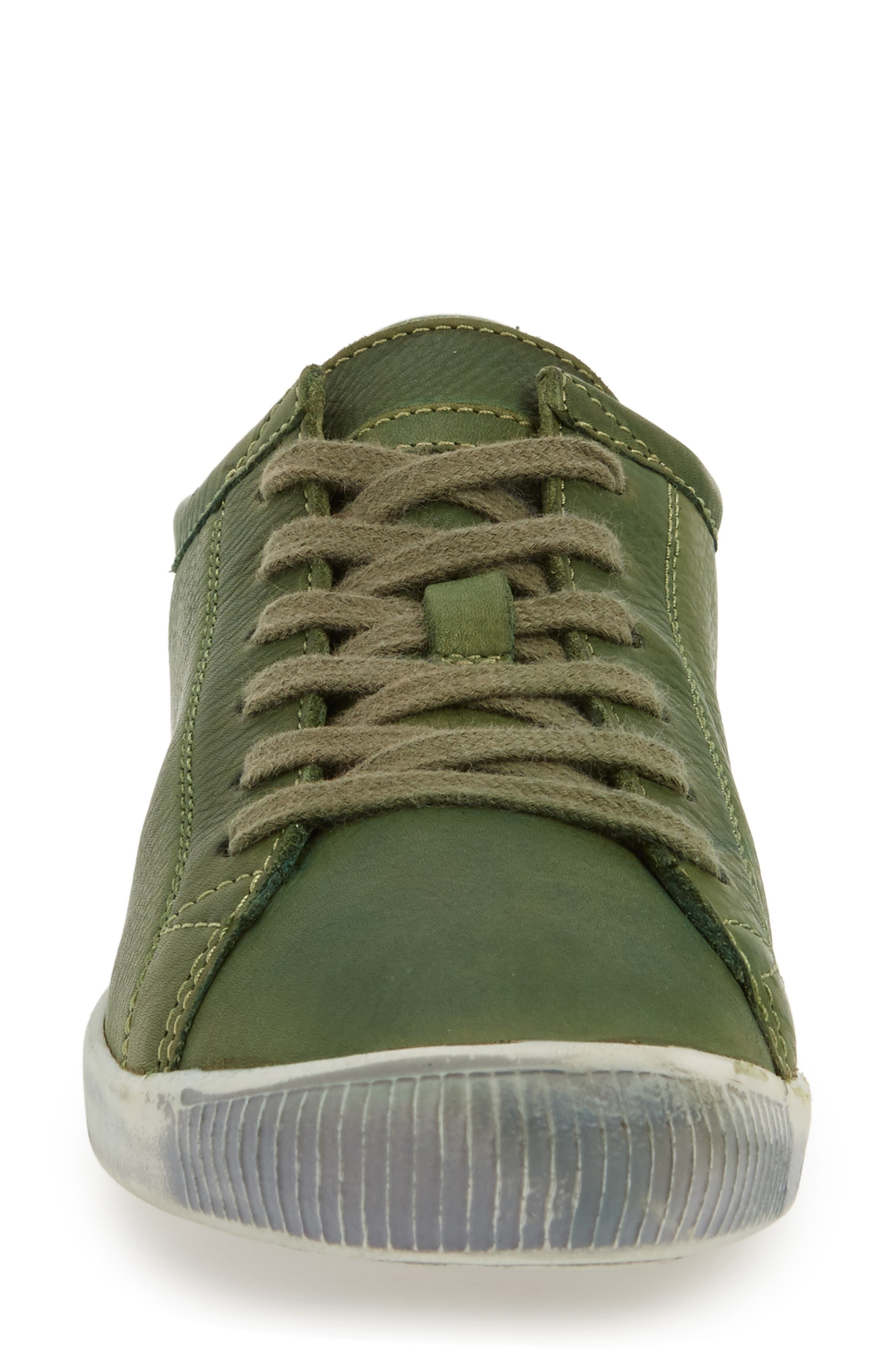 Isla Distressed Sneaker,                             Alternate thumbnail 6, color,                             Forest Green Washed Leather