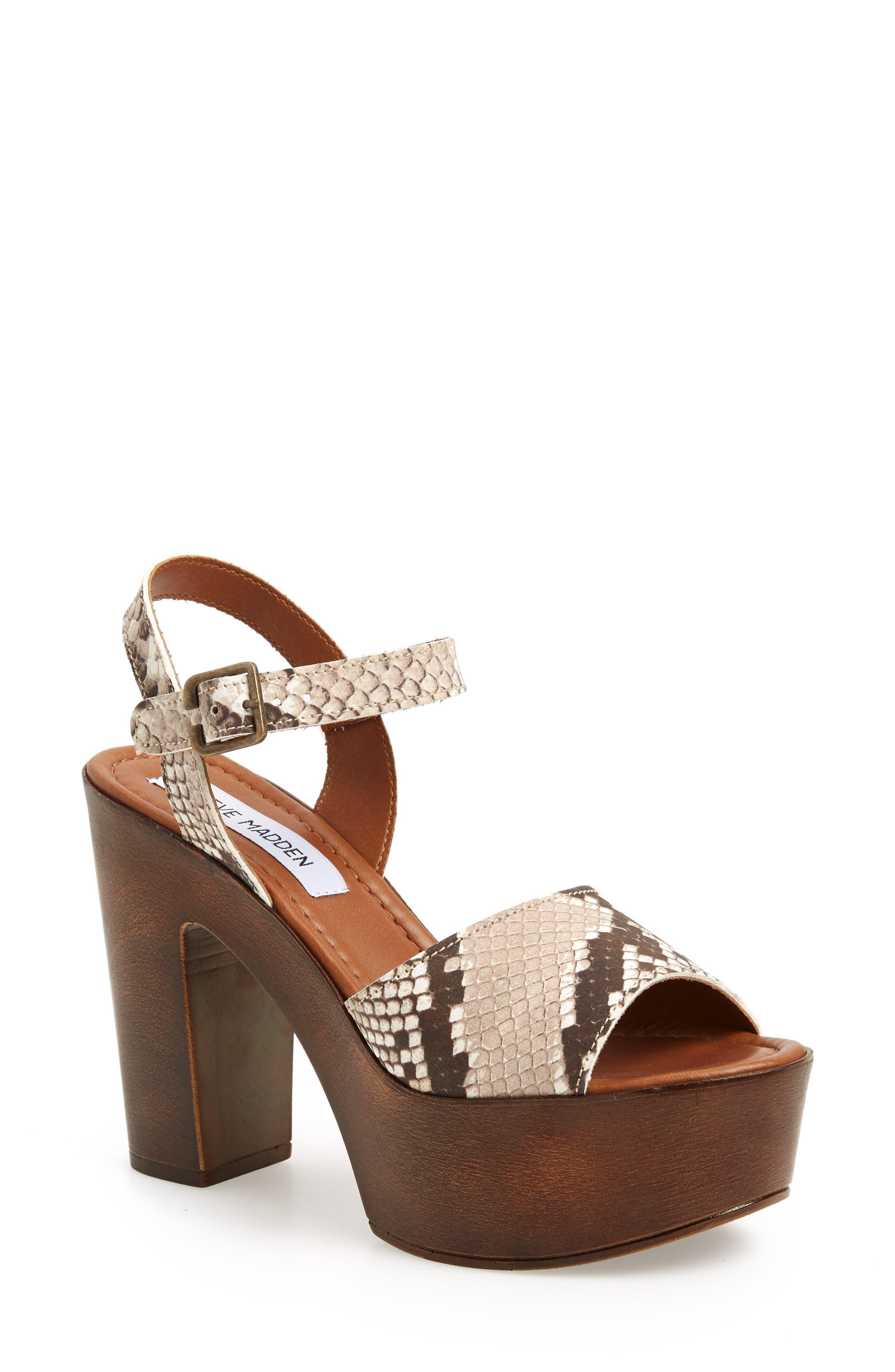 Lulla Platform Sandal,                         Main,                         color, White Reptile