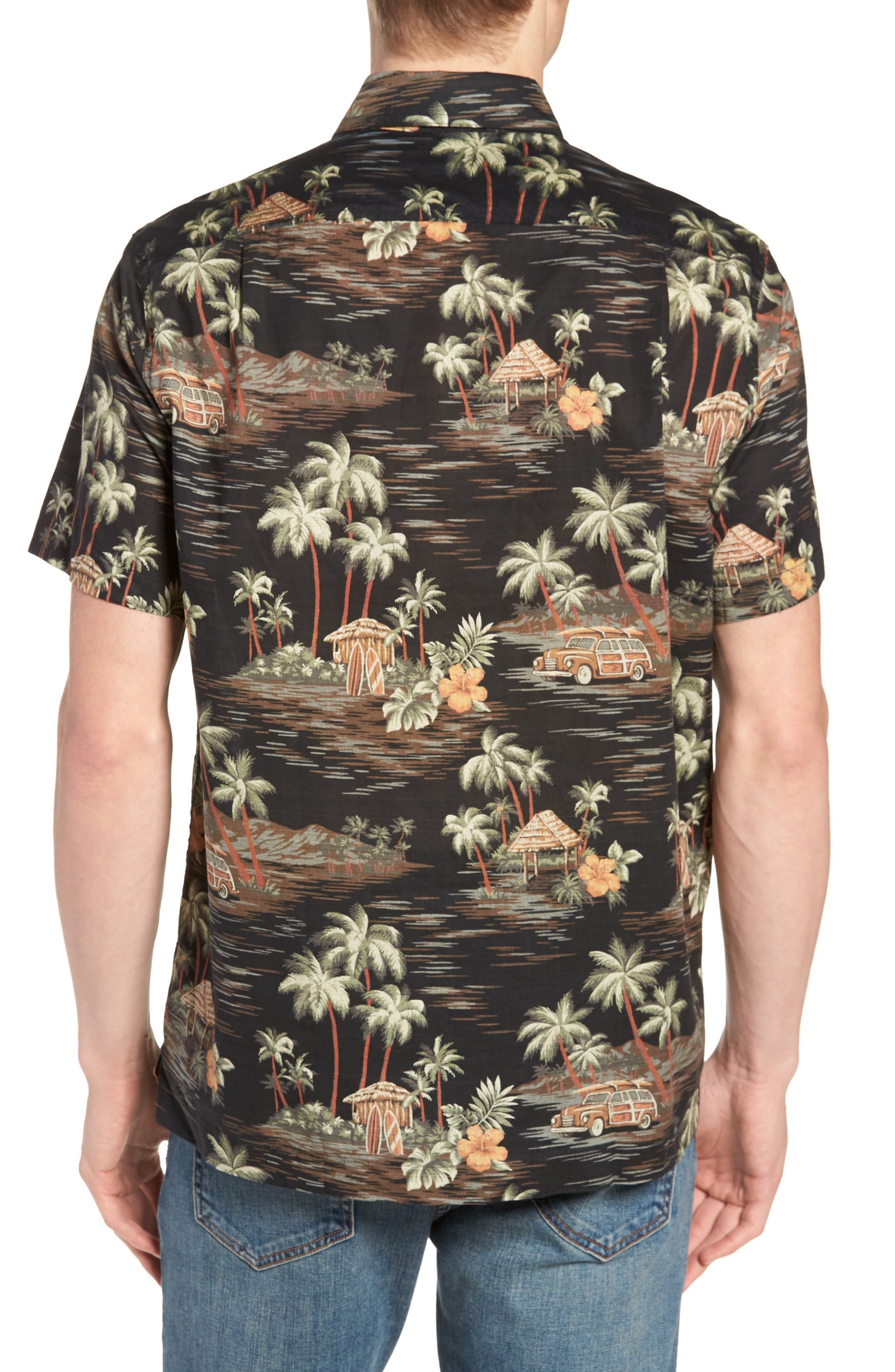Wallace & Barnes Regular Fit Tropical Print Sport Shirt,                             Alternate thumbnail 5, color,                             Black Multi