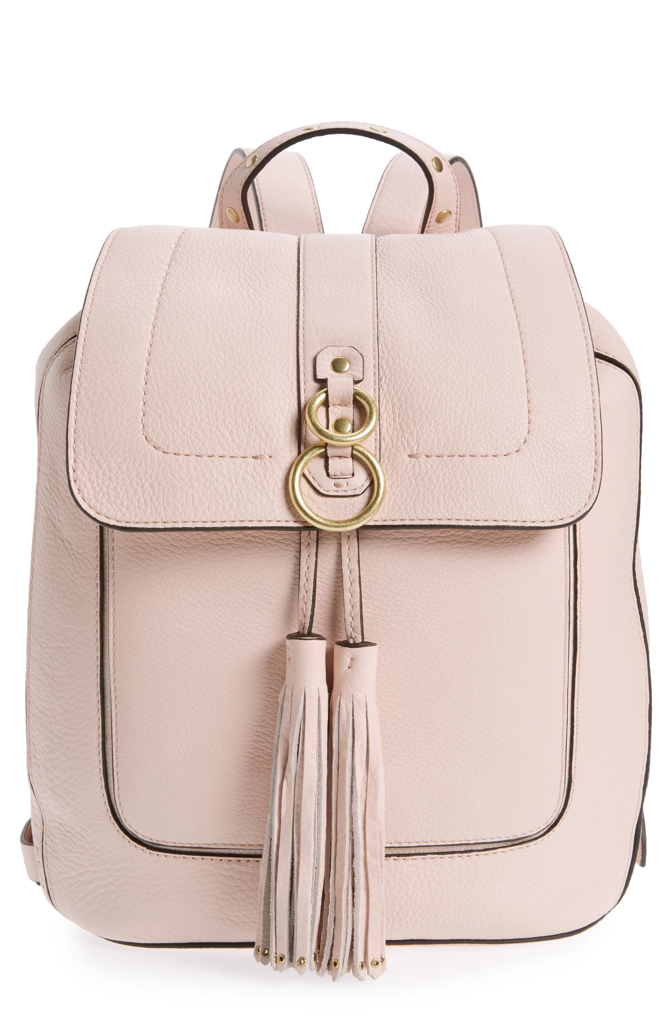Cassidy RFID Pebbled Leather Backpack,                             Main thumbnail 1, color,                             Peach Blush