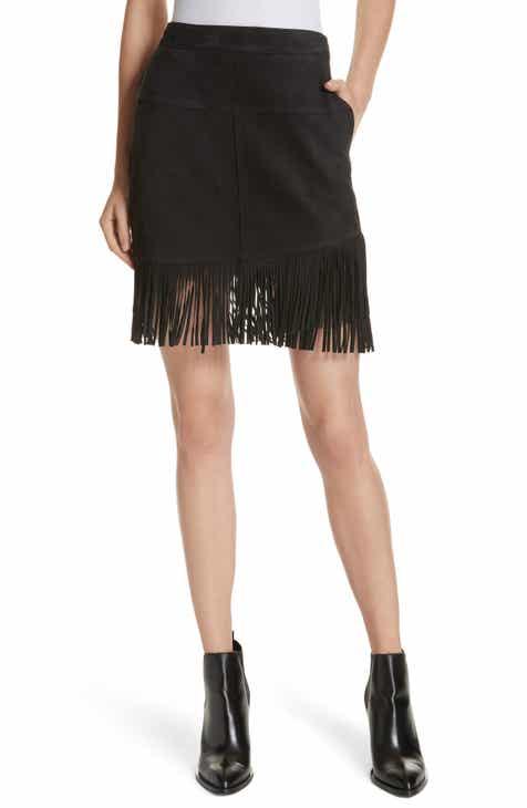 FRAME Fringe Hem Leather Skirt