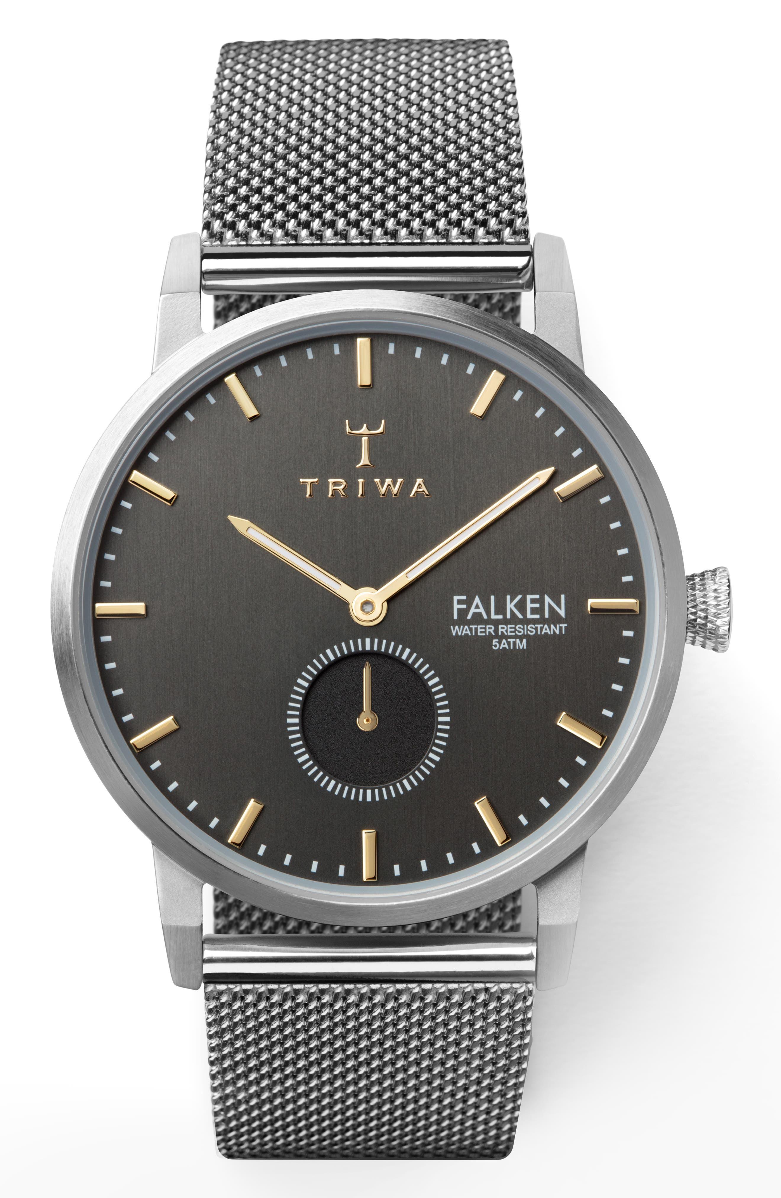 TRIWA Smoky Falken Mesh Strap Watch, 38Mm in Silver/ Grey/ Silver