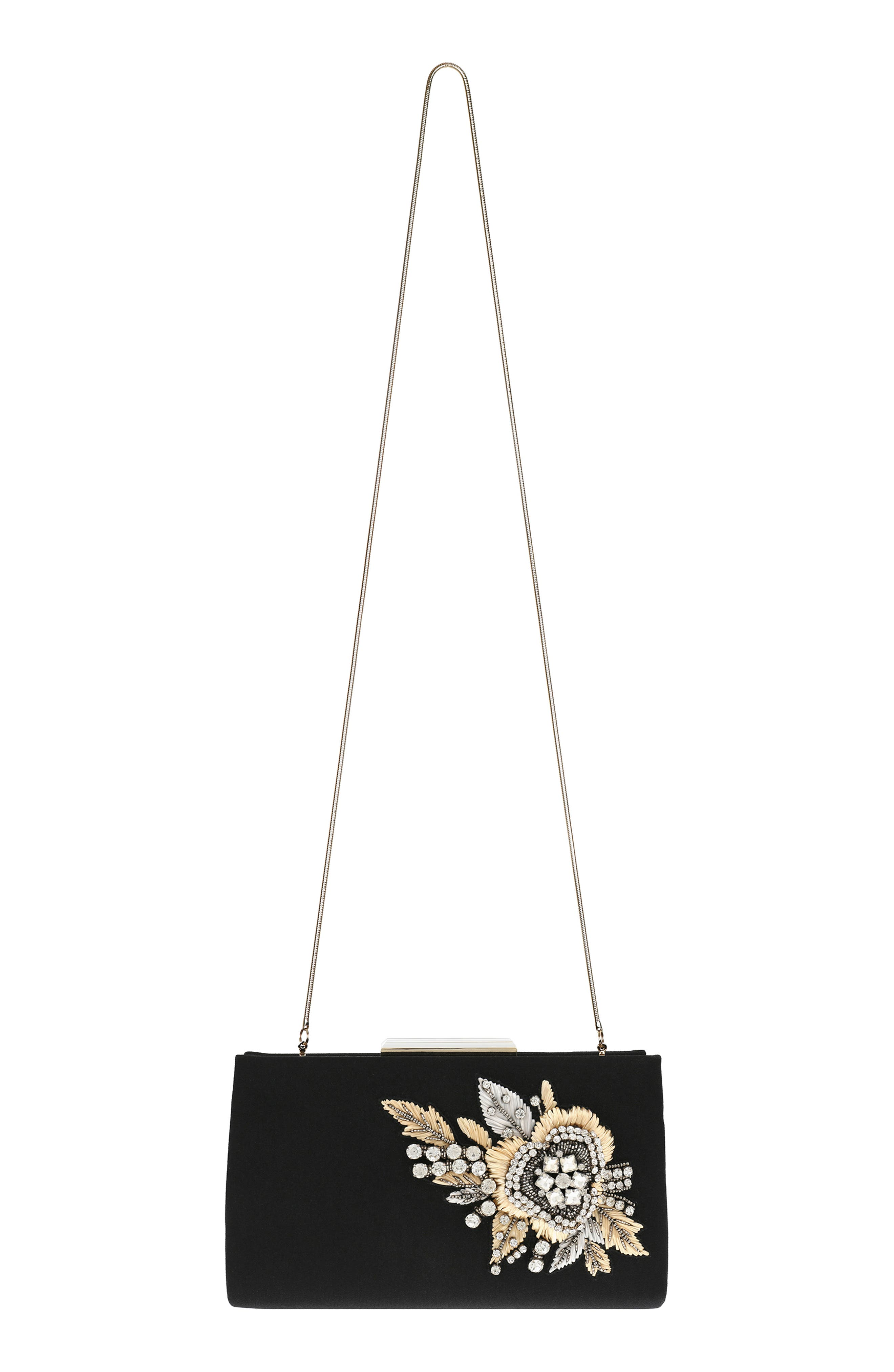 Generous Embellished Clutch,                             Alternate thumbnail 3, color,                             Black